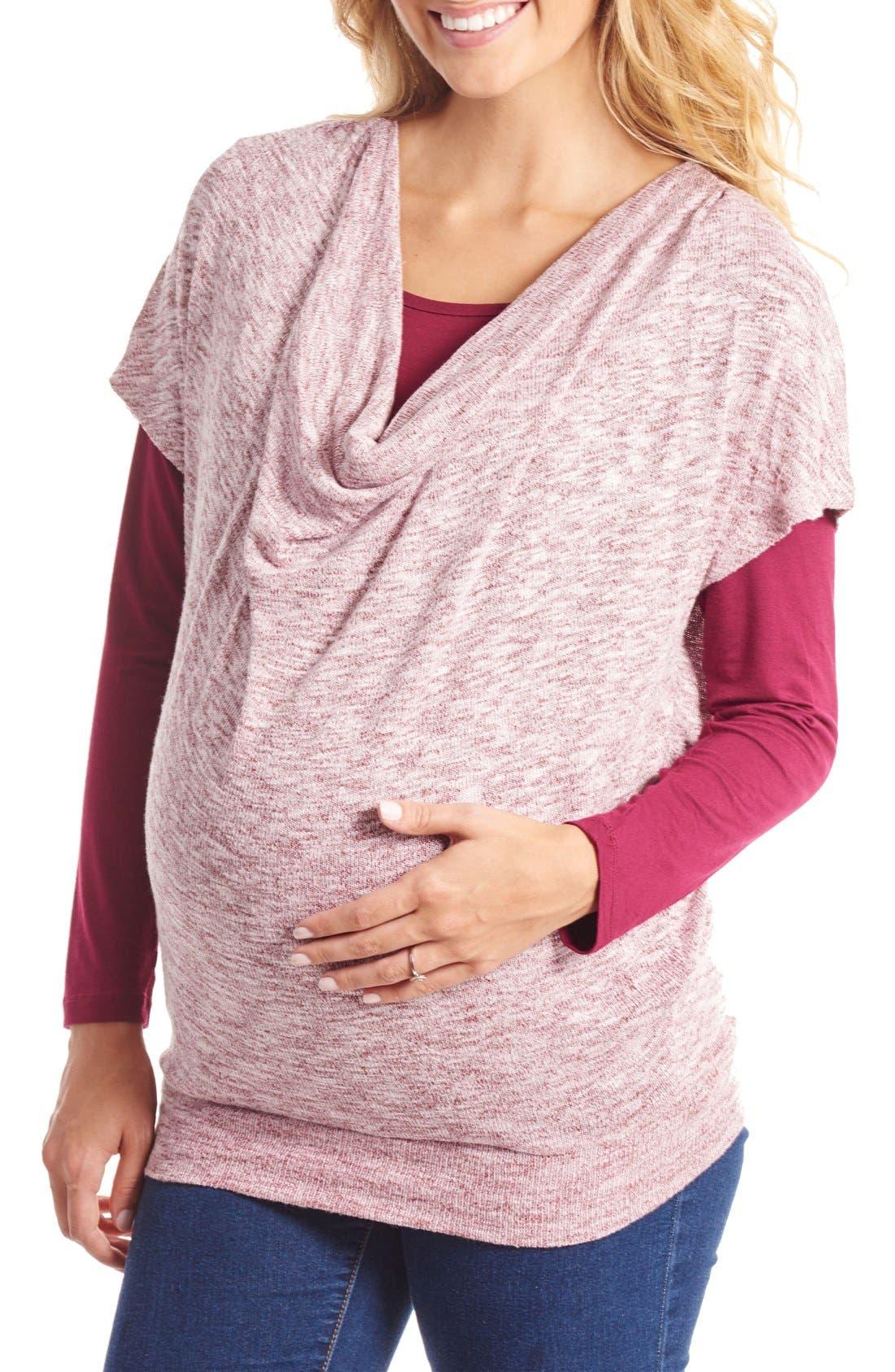 2-Piece Maternity/Nursing Top,                             Main thumbnail 1, color,                             Auburn