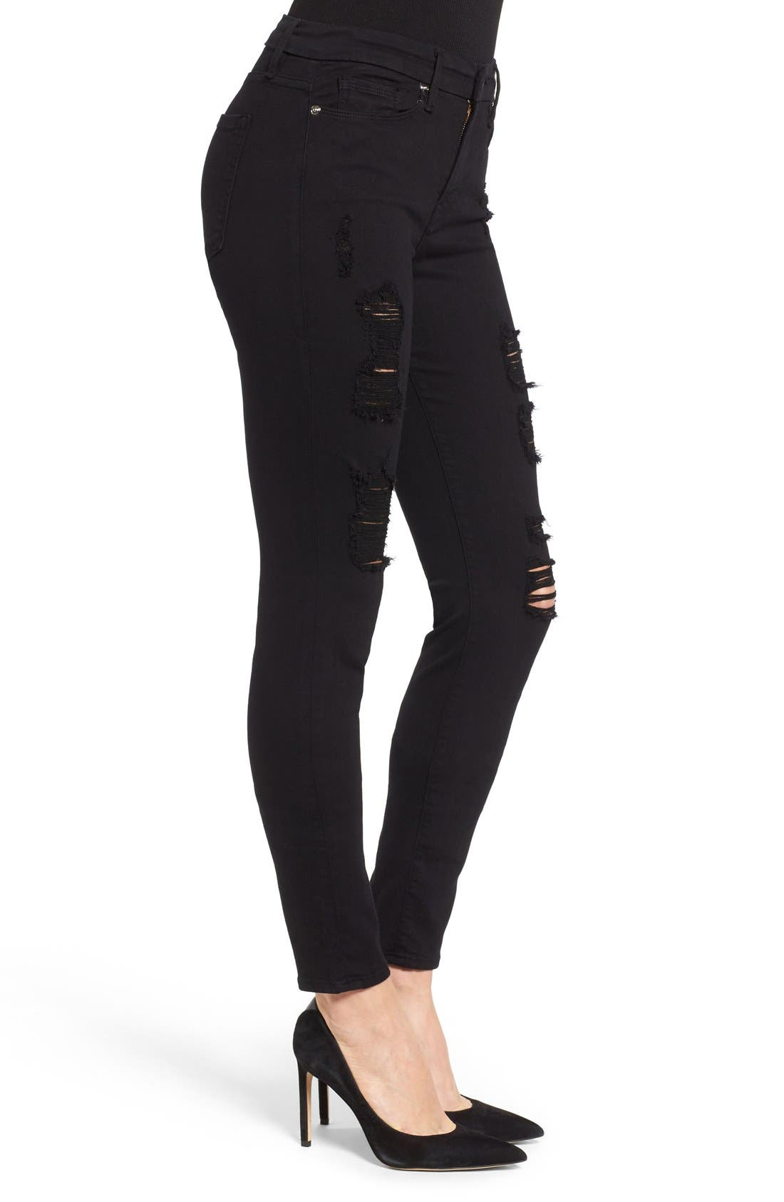 Alternate Image 3  - Good American Good Legs High Rise Ripped Skinny Jeans (Black 002)