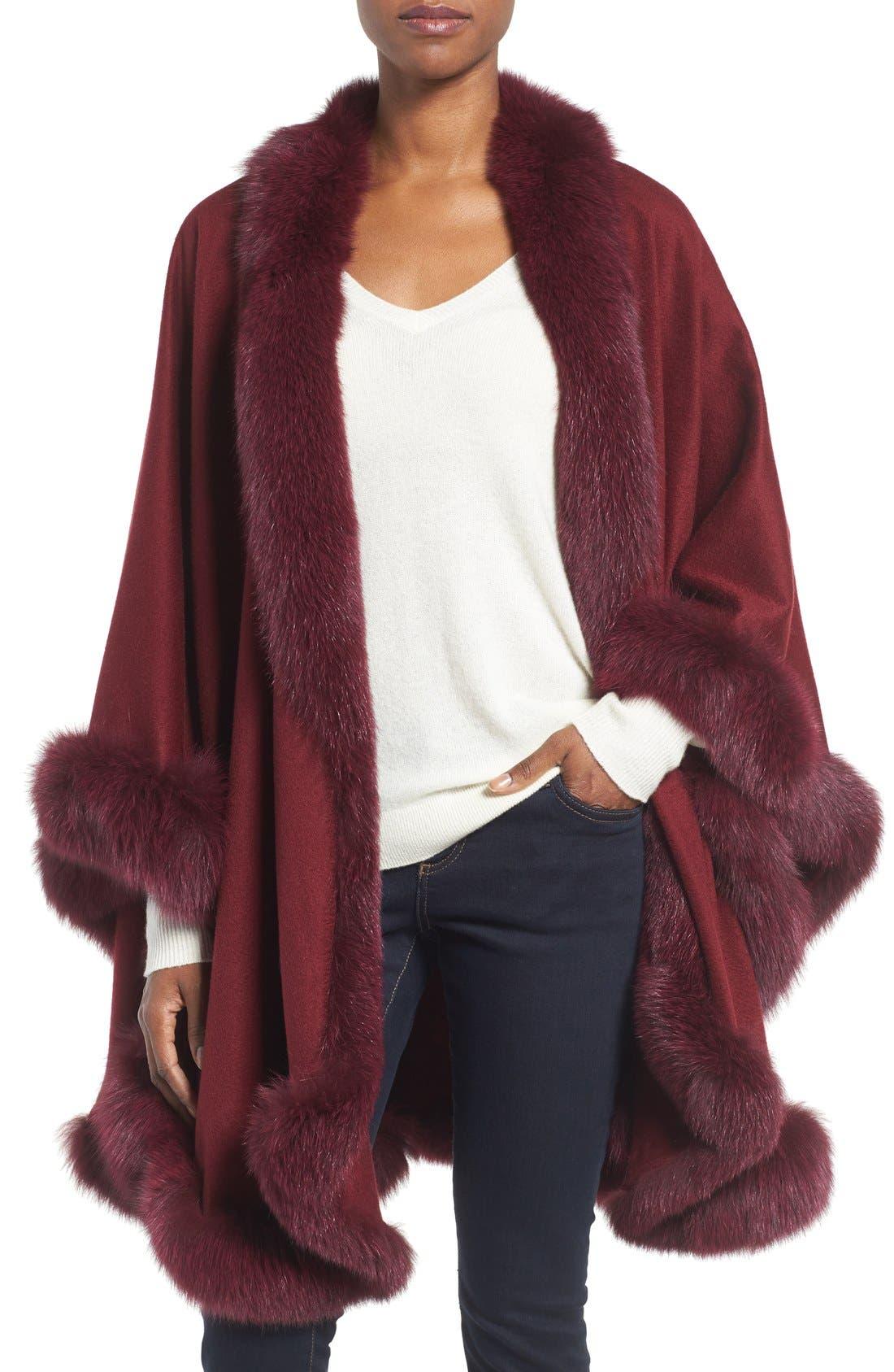 Genuine Fox Fur Trim Cape,                             Main thumbnail 1, color,                             Burgundy