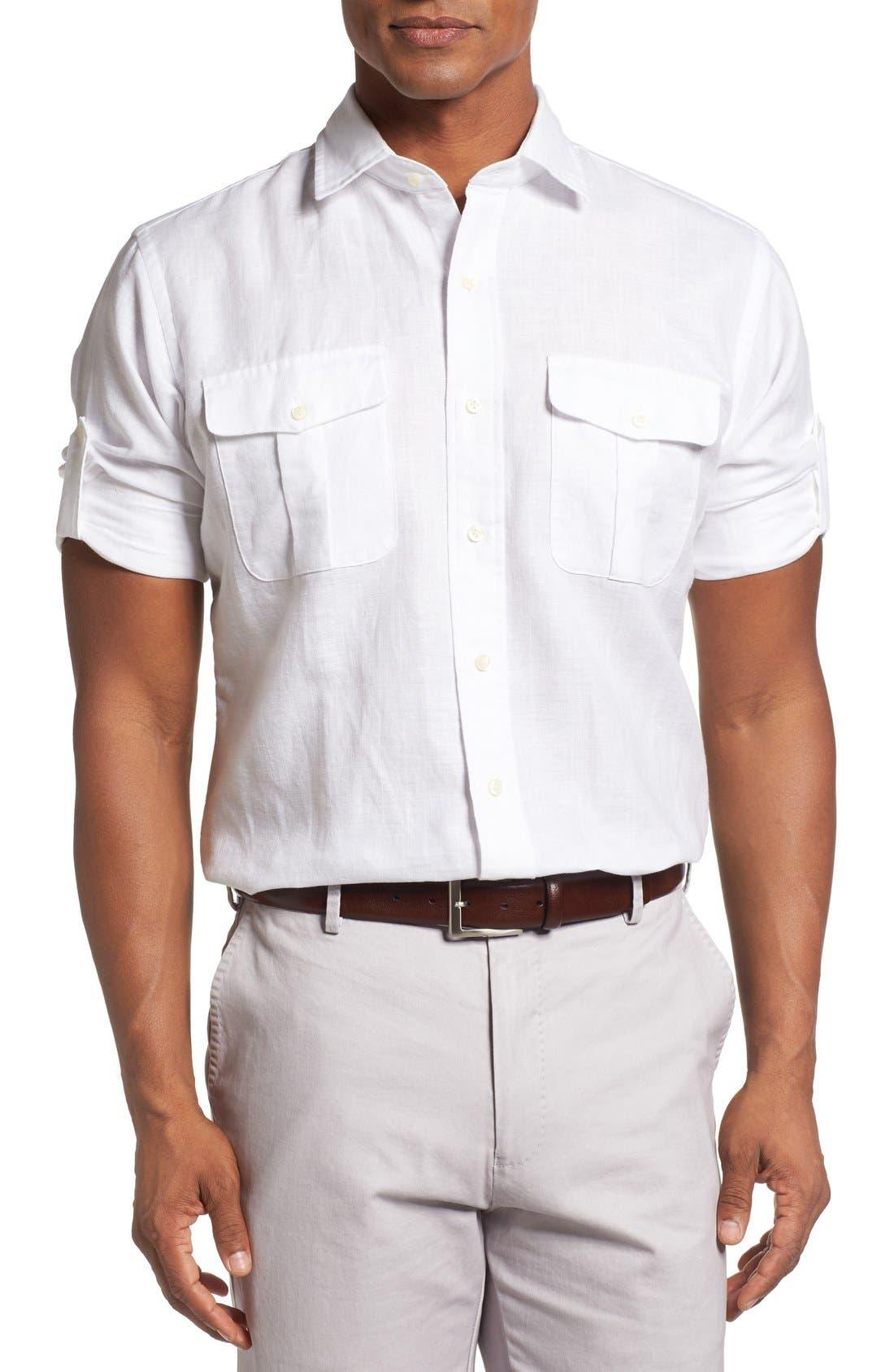 Main Image - Peter Millar Harkers Herringbone Regular Fit Sport Shirt
