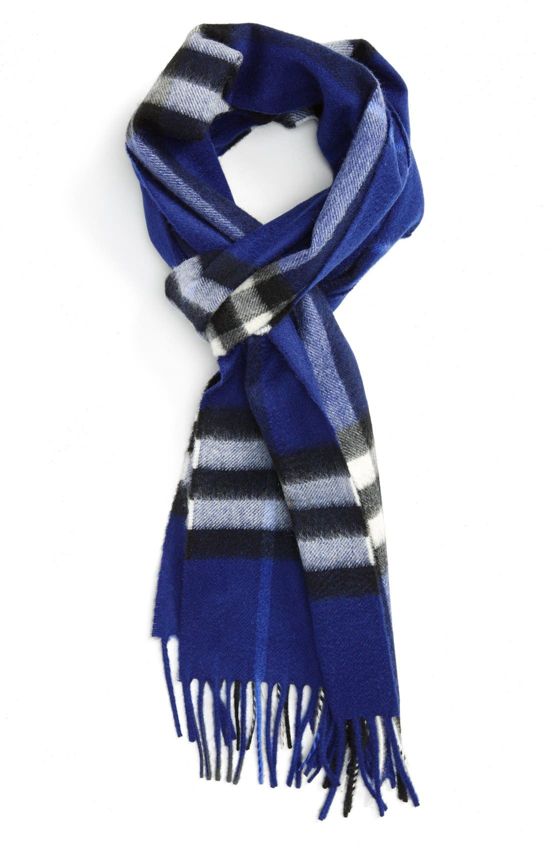 Heritage Giant Check Fringed Cashmere Muffler,                         Main,                         color, Bright Sapphire Check