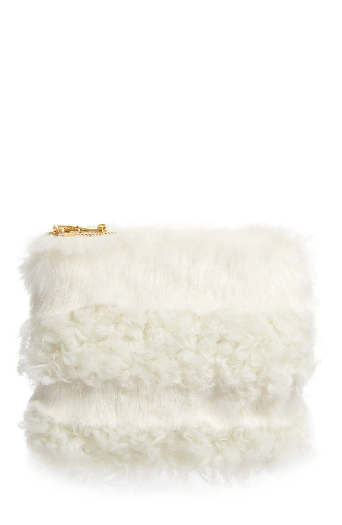 Main Image - Shrimps Jenny Faux Shearling Clutch (Nordstrom Exclusive)