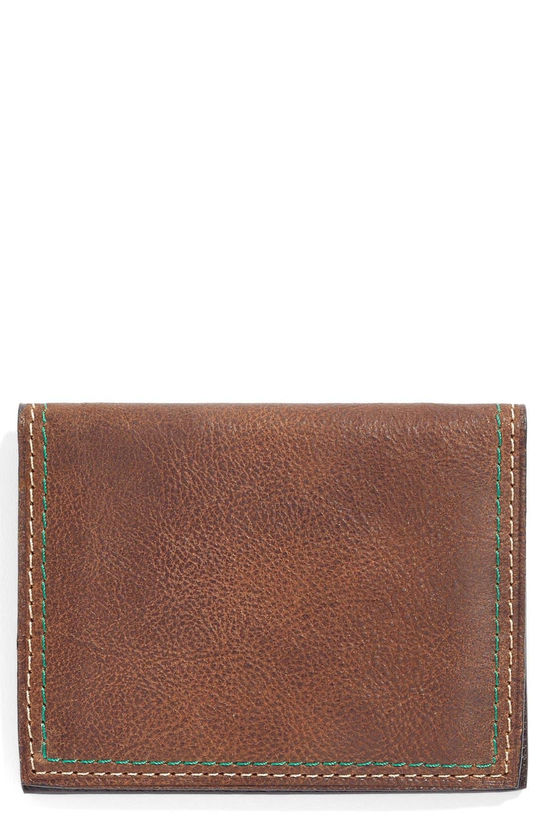 Water Buffalo Leather Card Case,                         Main,                         color, Burnt Cedar