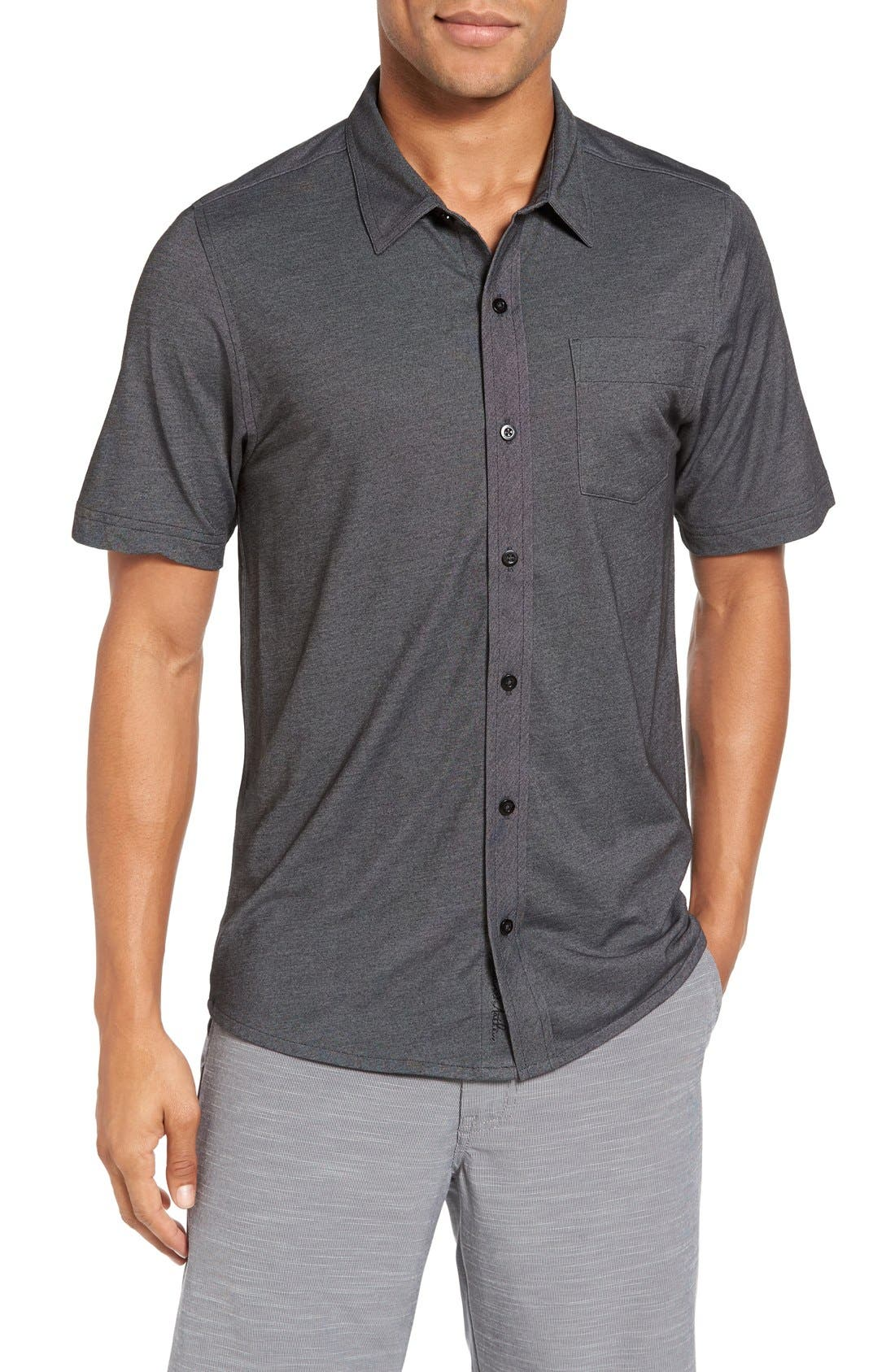 Hines Slim Fit Wrinkle Resistant Sport Shirt,                         Main,                         color, Black