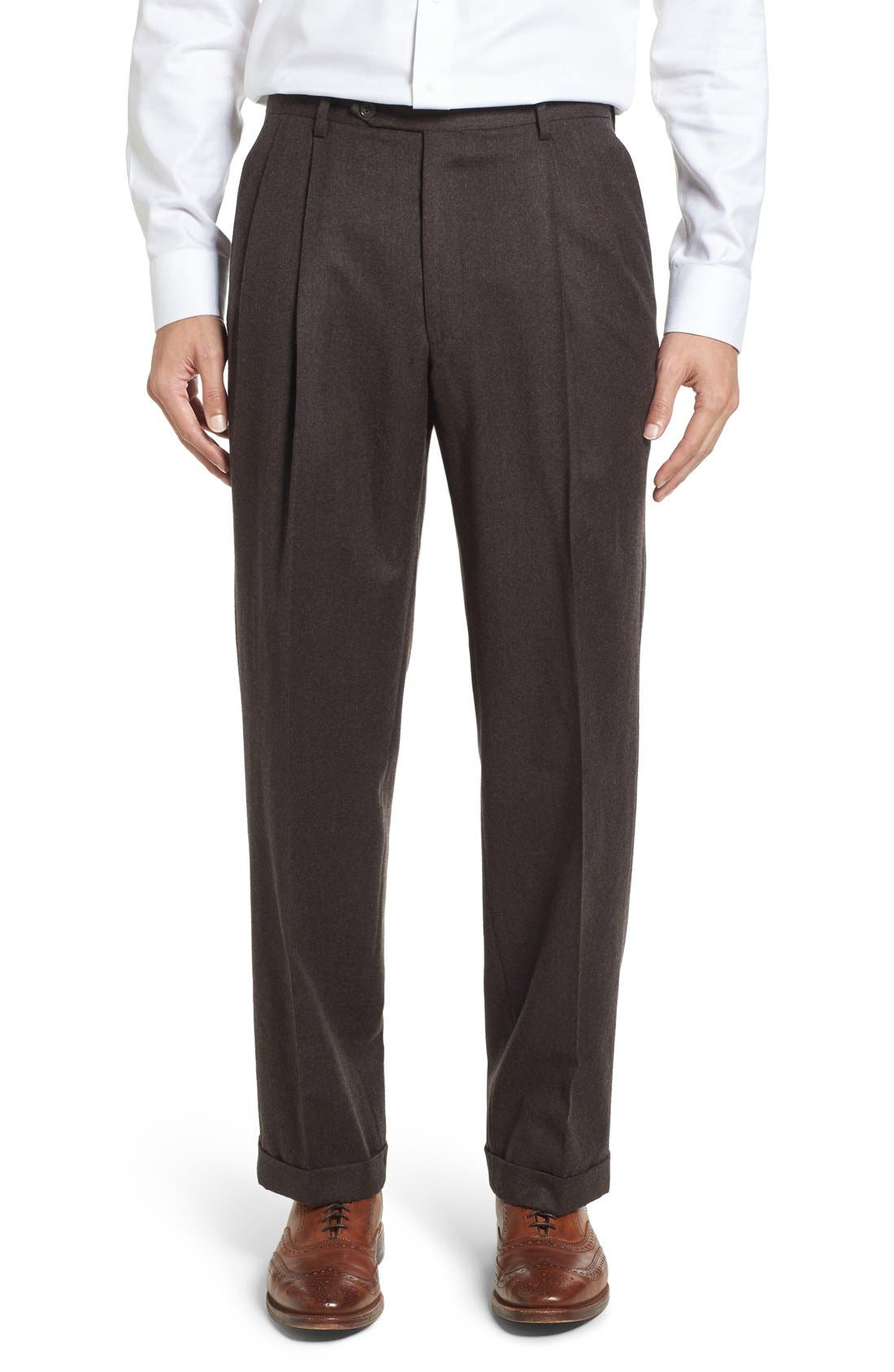 Alternate Image 1 Selected - Berle Pleated Solid Wool Trousers