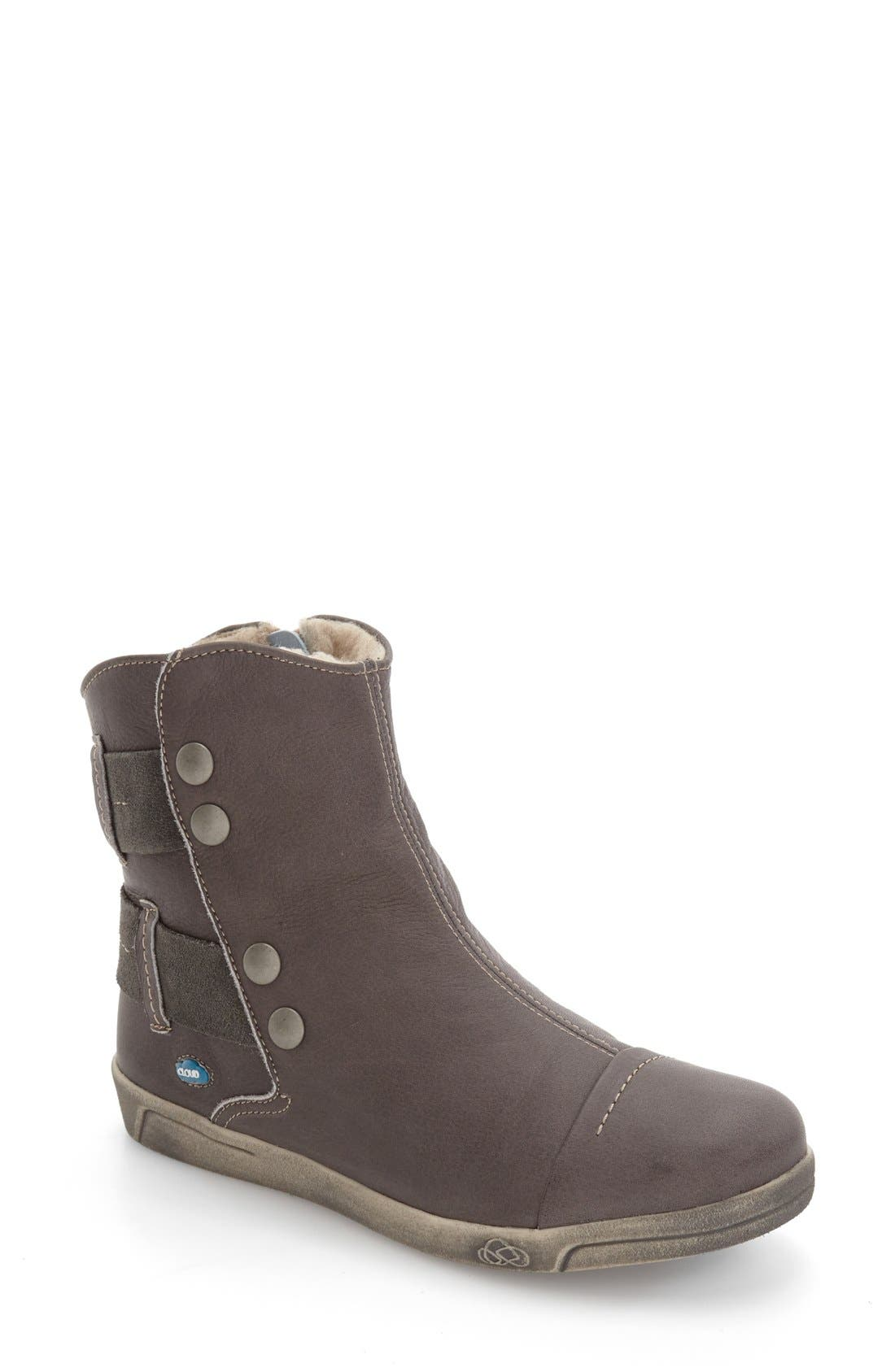 'Aline' Faux Shearling Lined Bootie,                             Main thumbnail 1, color,                             Dark Grey Leather