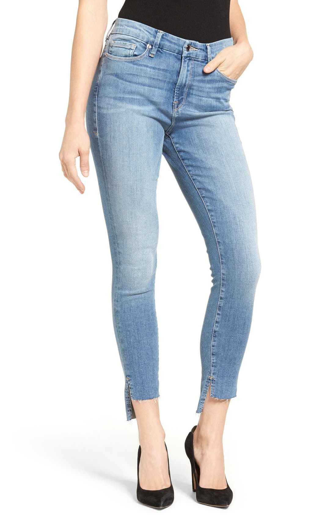 Good Legs High Waist Skinny Jeans,                         Main,                         color, Blue 007