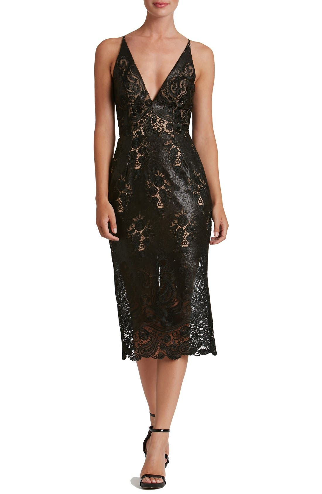 Angela Sequin Lace Midi Dress,                             Main thumbnail 1, color,                             Black/ Nude