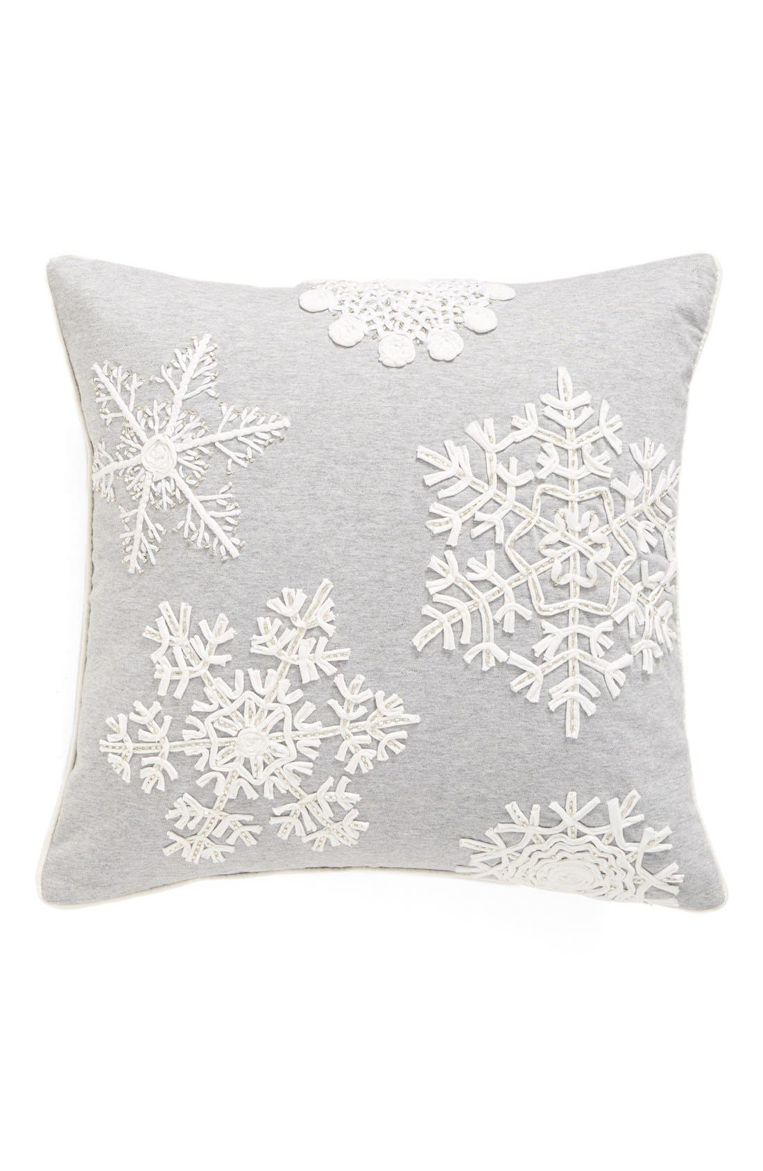 Snowflake Jersey Accent Pillow,                             Main thumbnail 1, color,                             Grey Heather