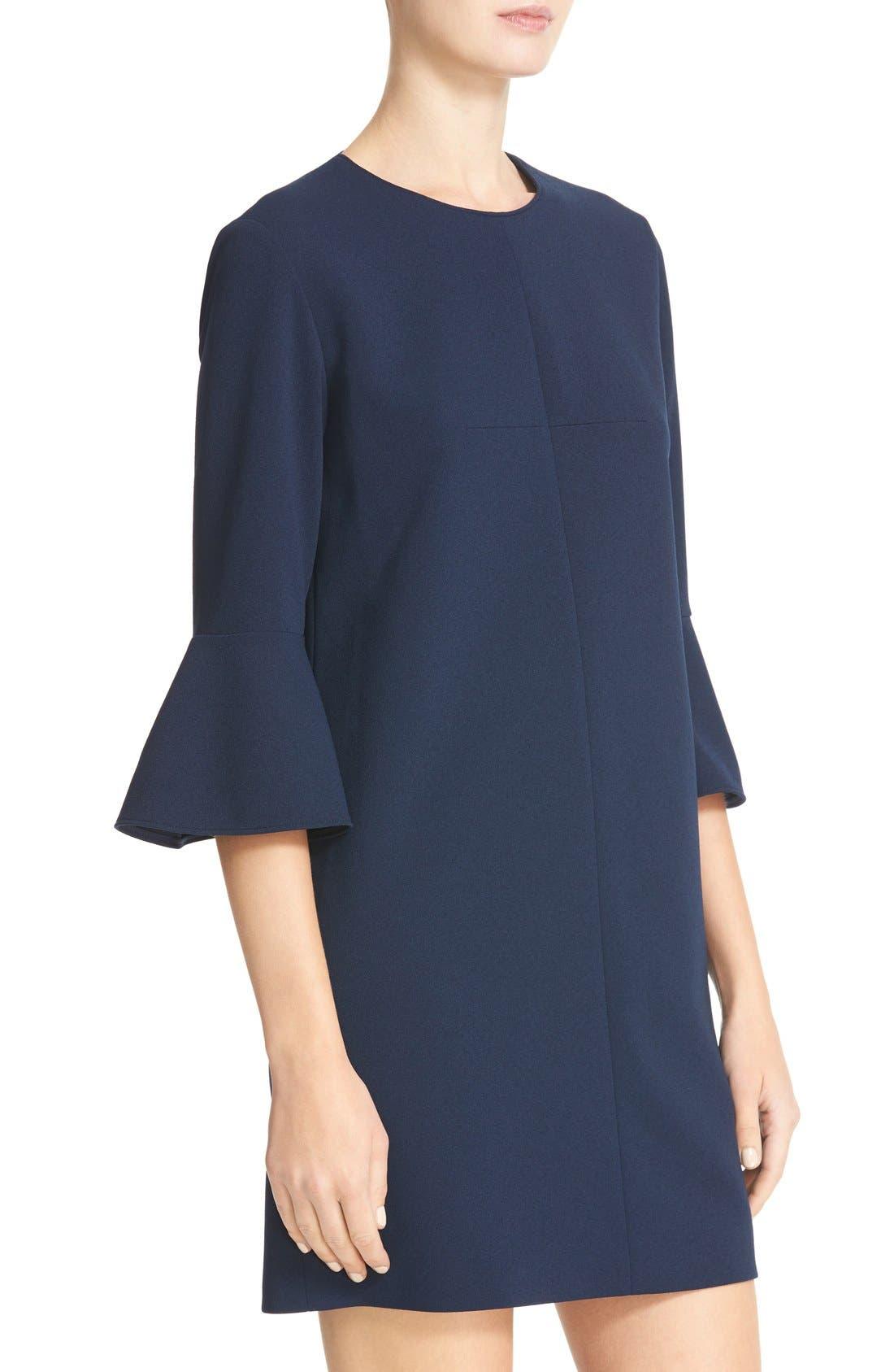 Bell Sleeve Dress,                             Alternate thumbnail 4, color,                             Navy