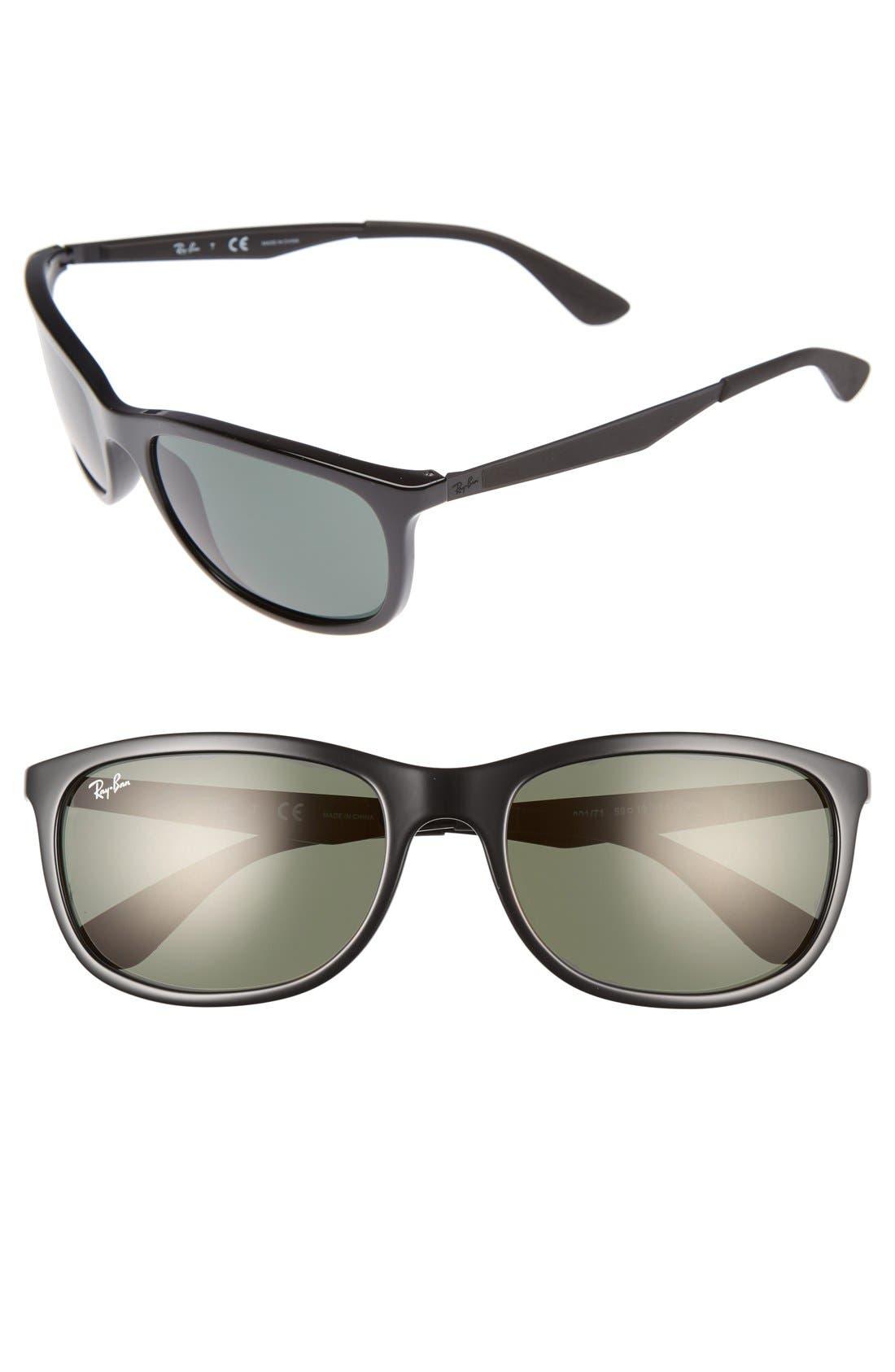 Active Lifestyle 59mm Rectangular Sunglasses,                         Main,                         color, Black/ Green