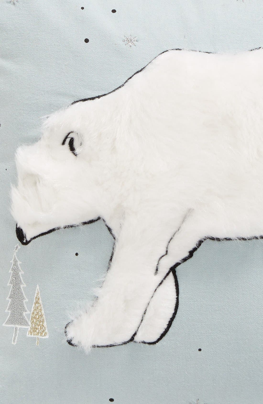 Winter Bear Pillow,                             Alternate thumbnail 3, color,                             Teal Mist Multi
