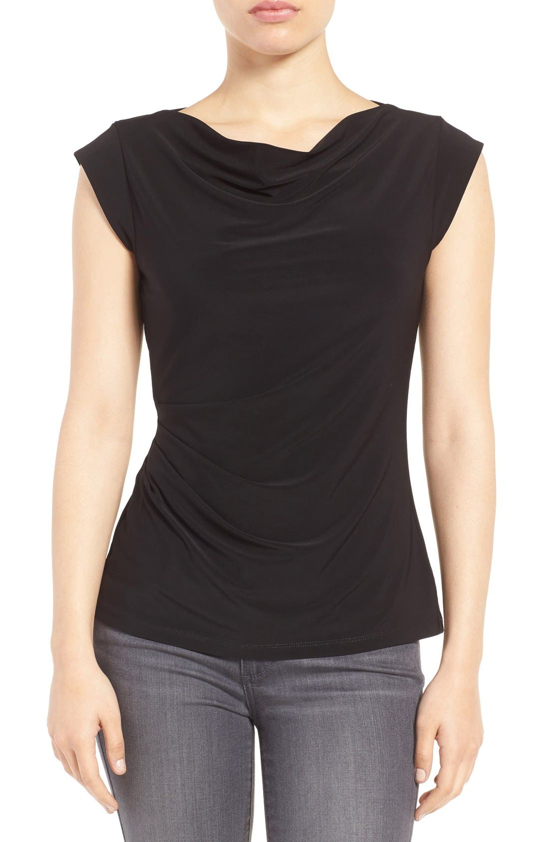 Cowl Neck Shell,                         Main,                         color, Black