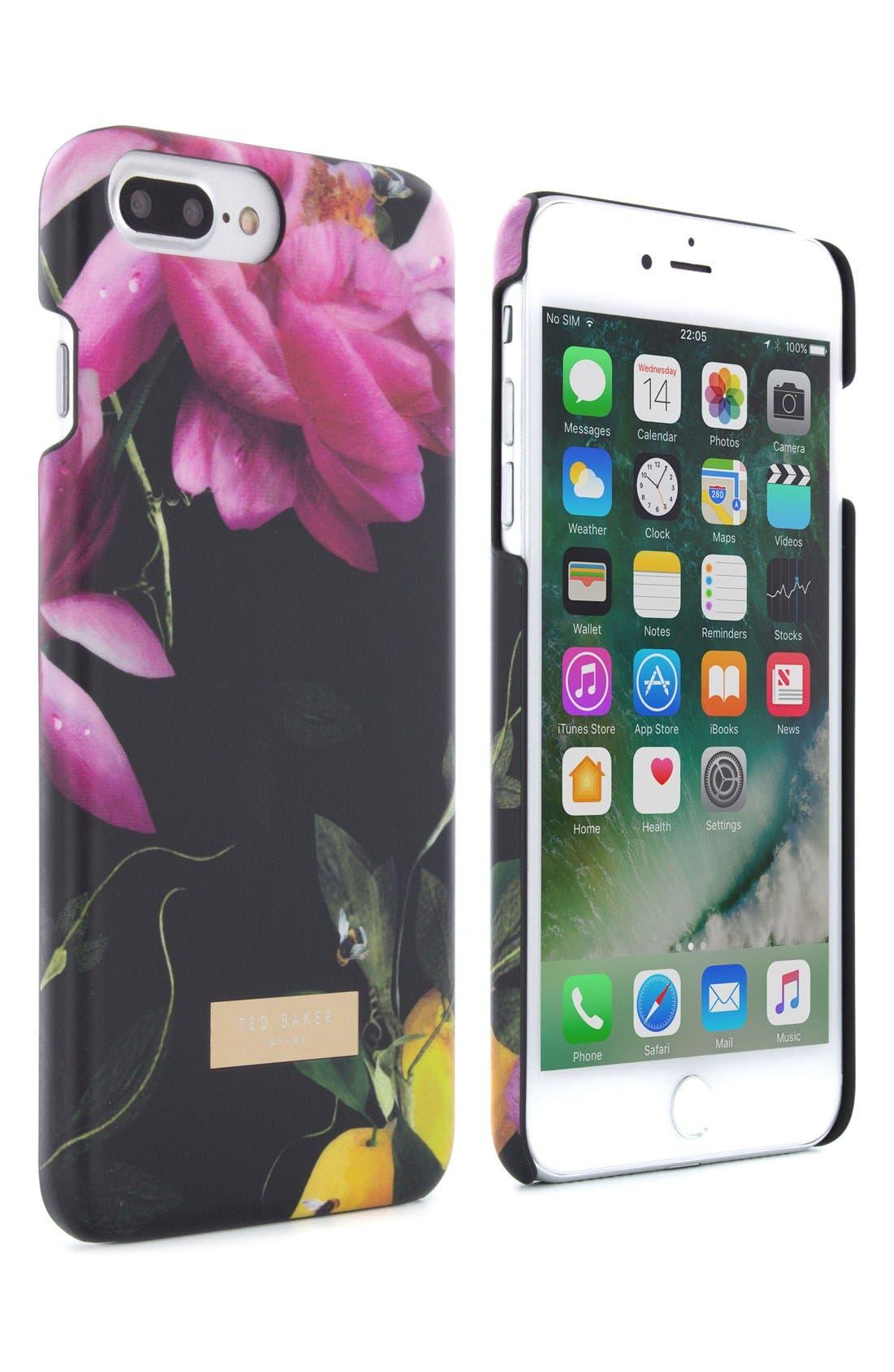 Citrus Bloom iPhone 6/6s/7/8 & 6/6s/7/8 Plus Case,                             Alternate thumbnail 2, color,                             Black