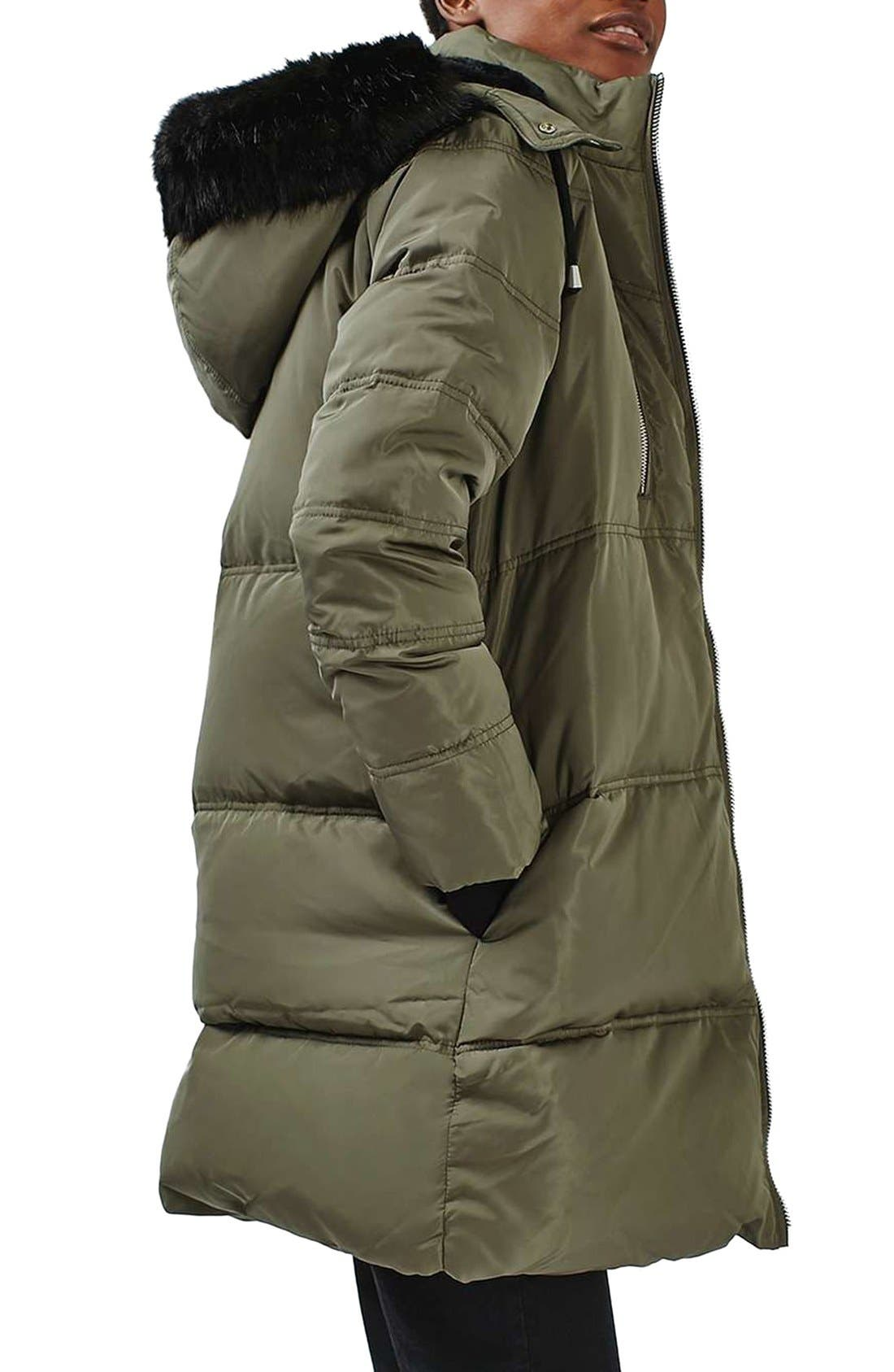 Jasper Faux Fur Trim Puffer Parka,                             Alternate thumbnail 4, color,                             Olive