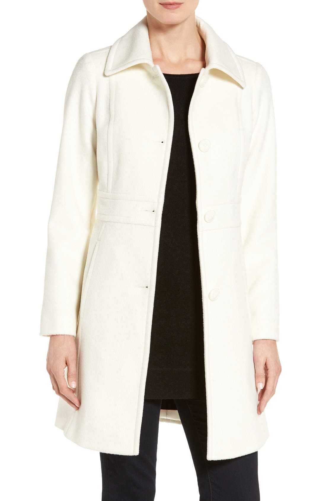 Wool Blend Walking Coat,                         Main,                         color, Winter White
