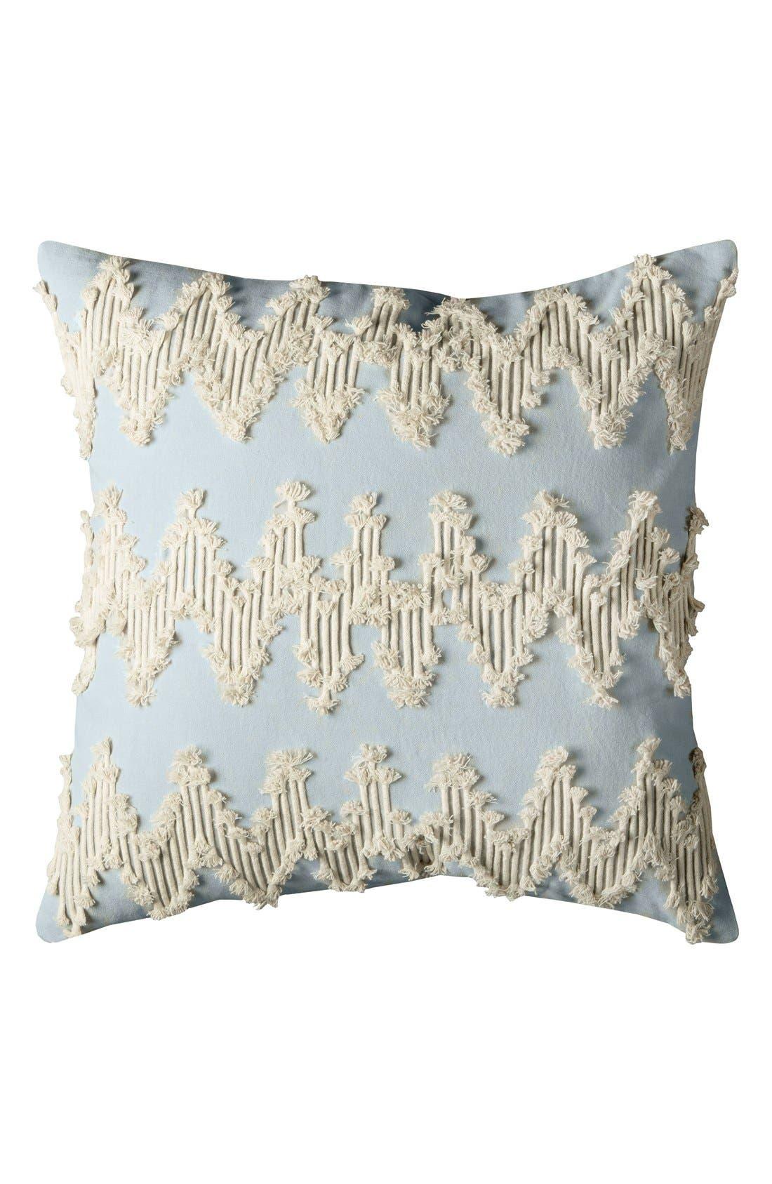 Embroidered Chevron Pillow,                             Main thumbnail 1, color,                             Blue/ Natural