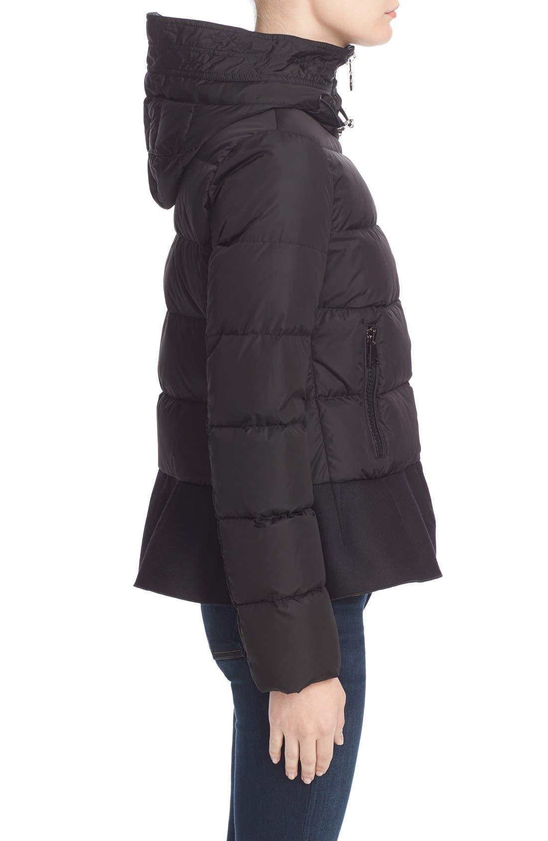 Nesea Peplum Hem Down Puffer Jacket,                             Alternate thumbnail 6, color,                             Black