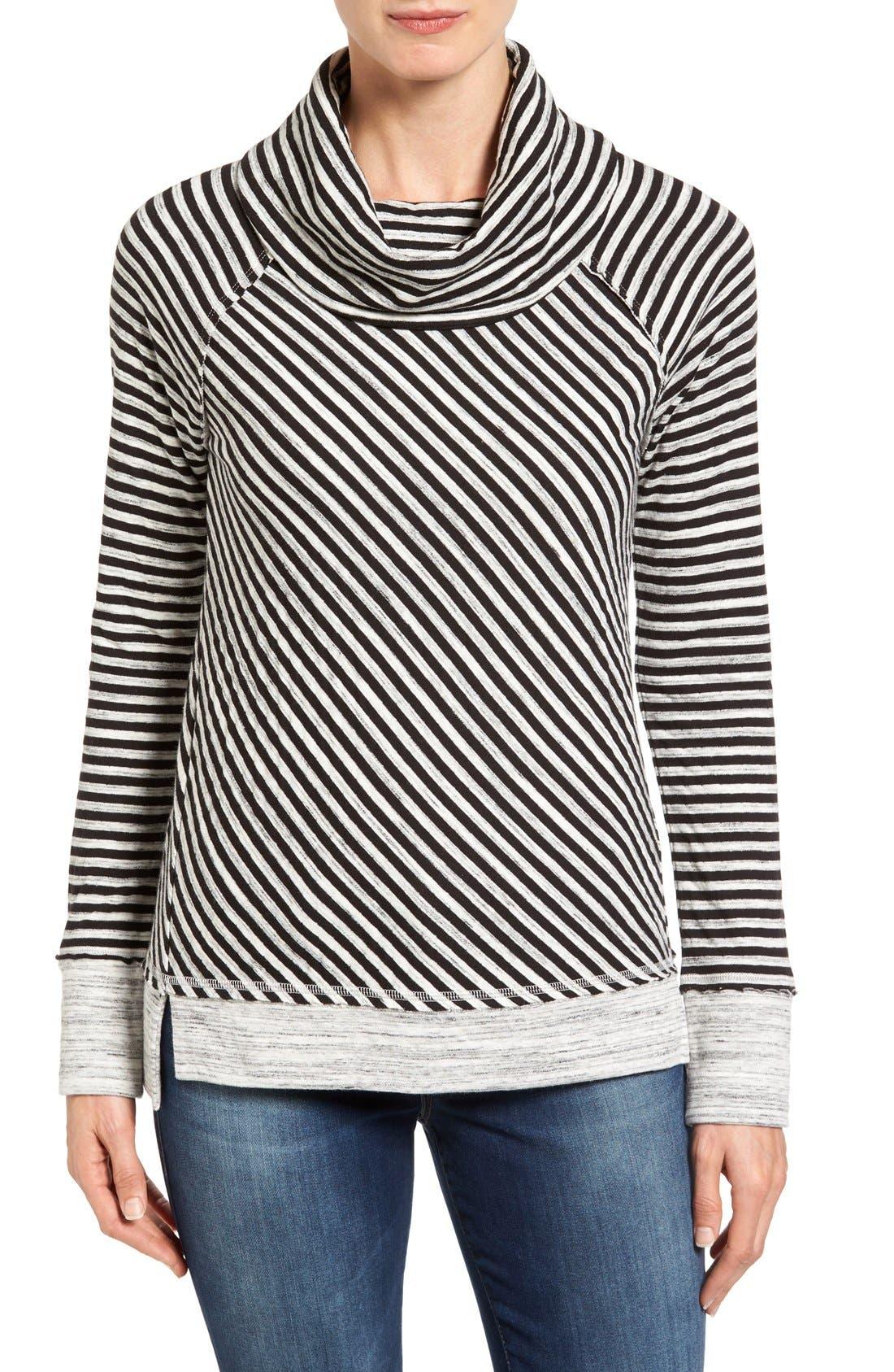 Alternate Image 1 Selected - Caslon® Stripe Cowl Neck Sweatshirt (Regular & Petite)