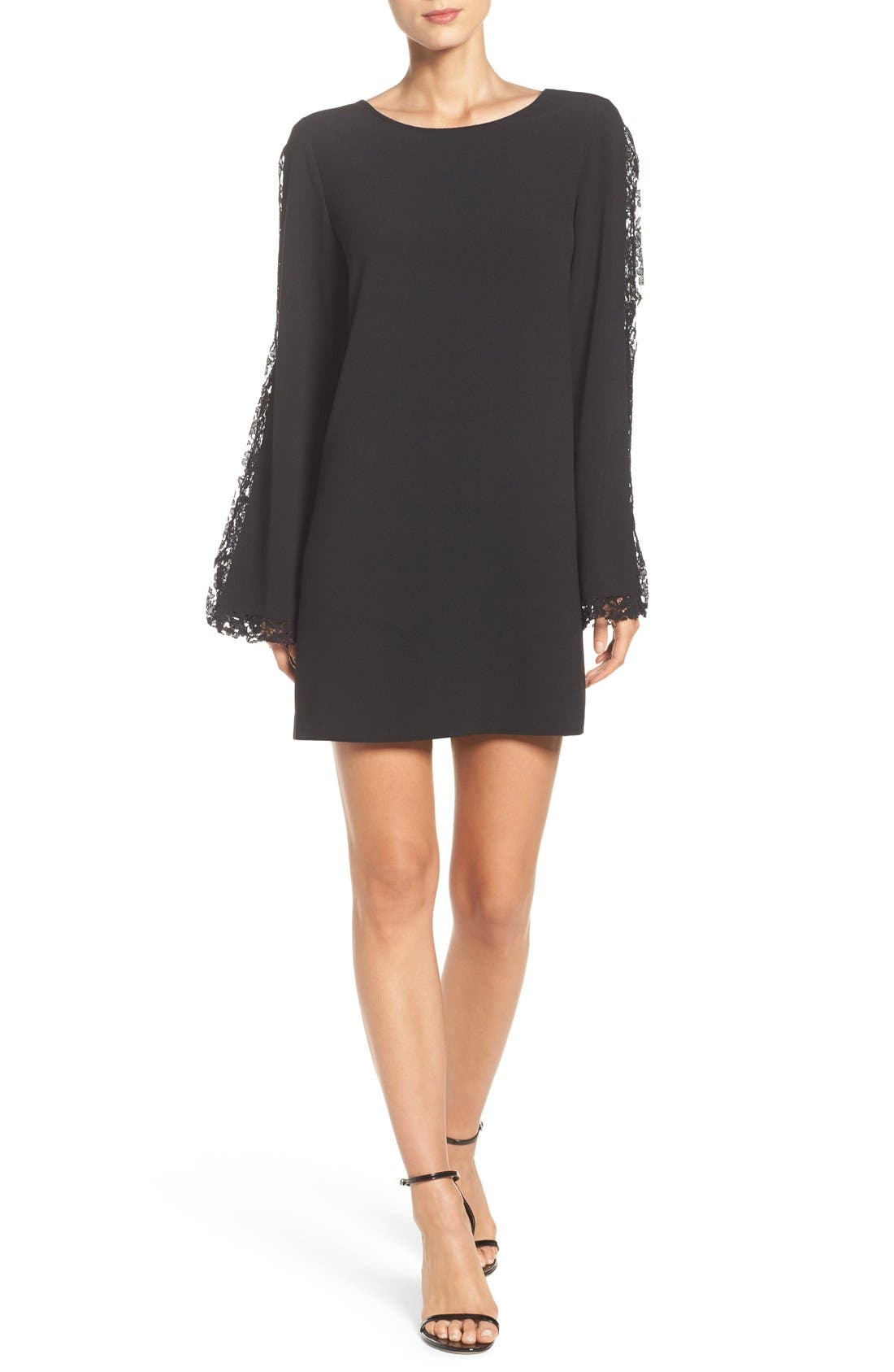 Lacey Bell Sleeve Shift Dress,                             Alternate thumbnail 4, color,                             Black