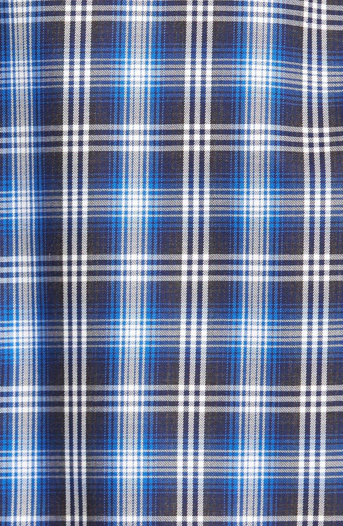 Trim Fit Ombré Plaid Sport Shirt,                             Alternate thumbnail 5, color,                             Navy