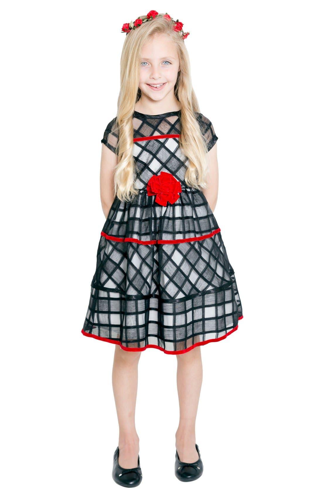 Illusion Print Dress,                         Main,                         color, Black/ Ivory
