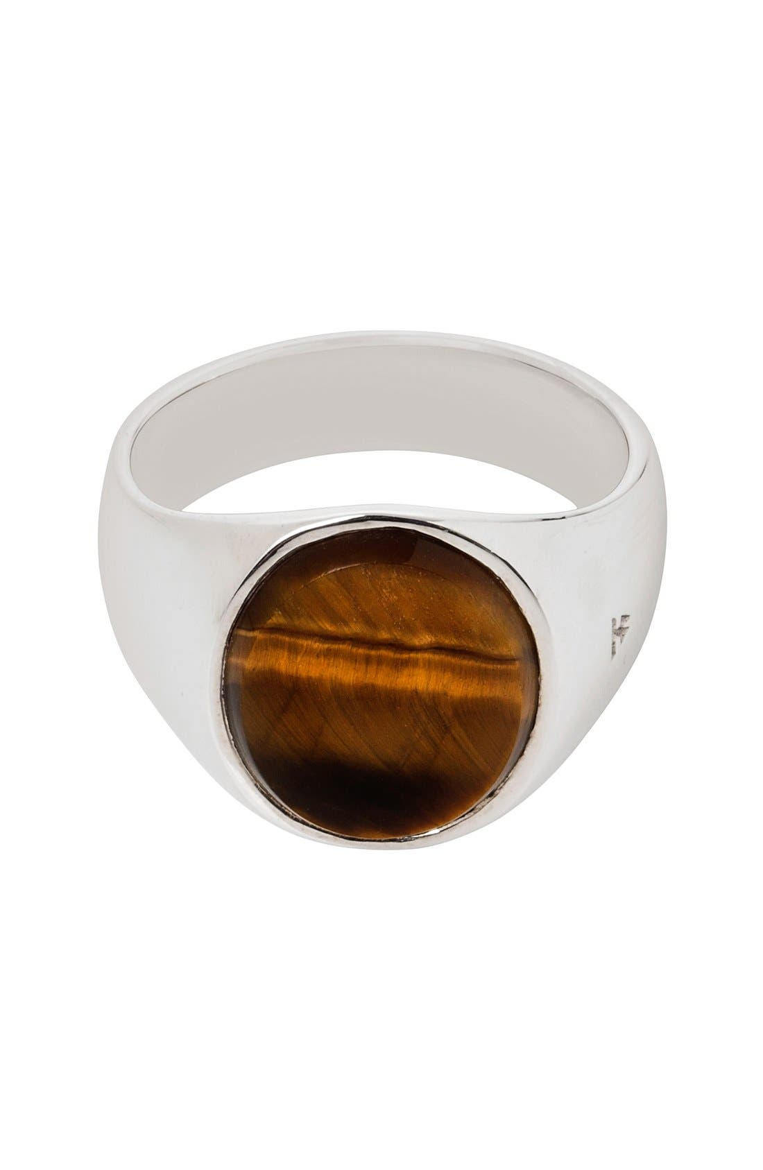 Oval Tiger's Eye Signet Ring,                             Main thumbnail 1, color,                             Silver