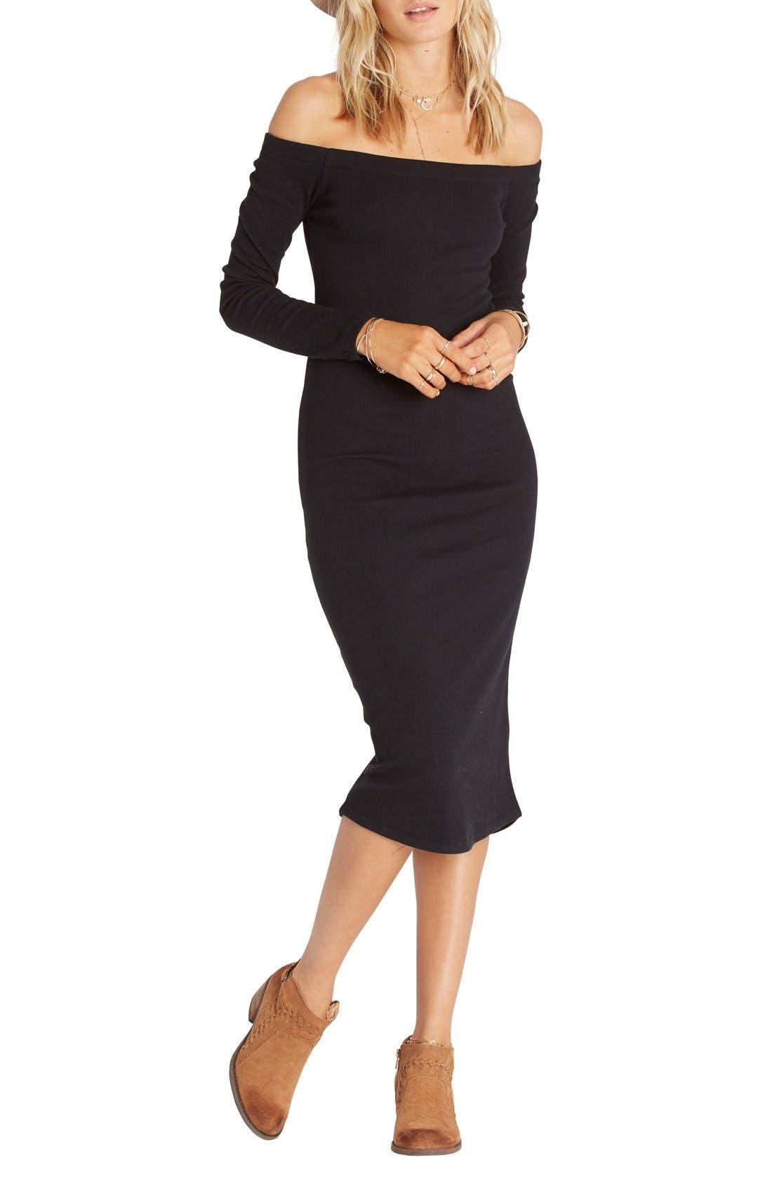 Main Image - Billabong Off the Shoulder Rib Knit Midi Dress