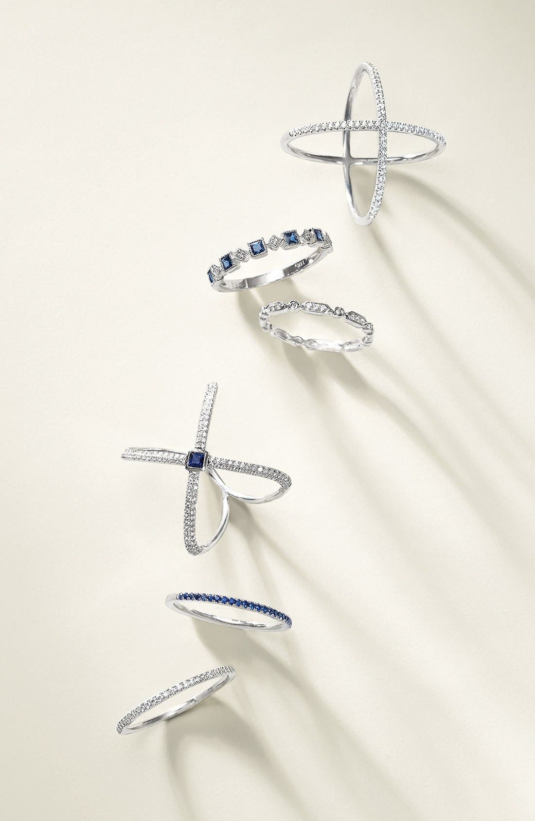 Stackable Diamond & Sapphire Band Ring,                             Alternate thumbnail 2, color,