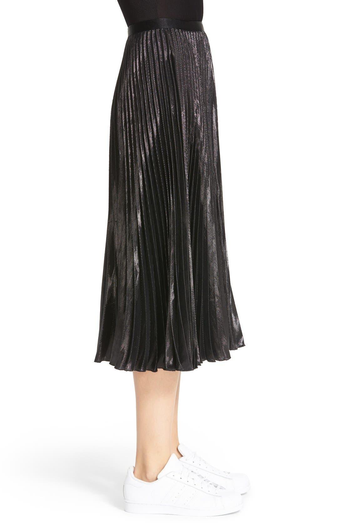 Alternate Image 4  - Diane von Furstenberg Heavyn Metallic Pleated Midi Skirt
