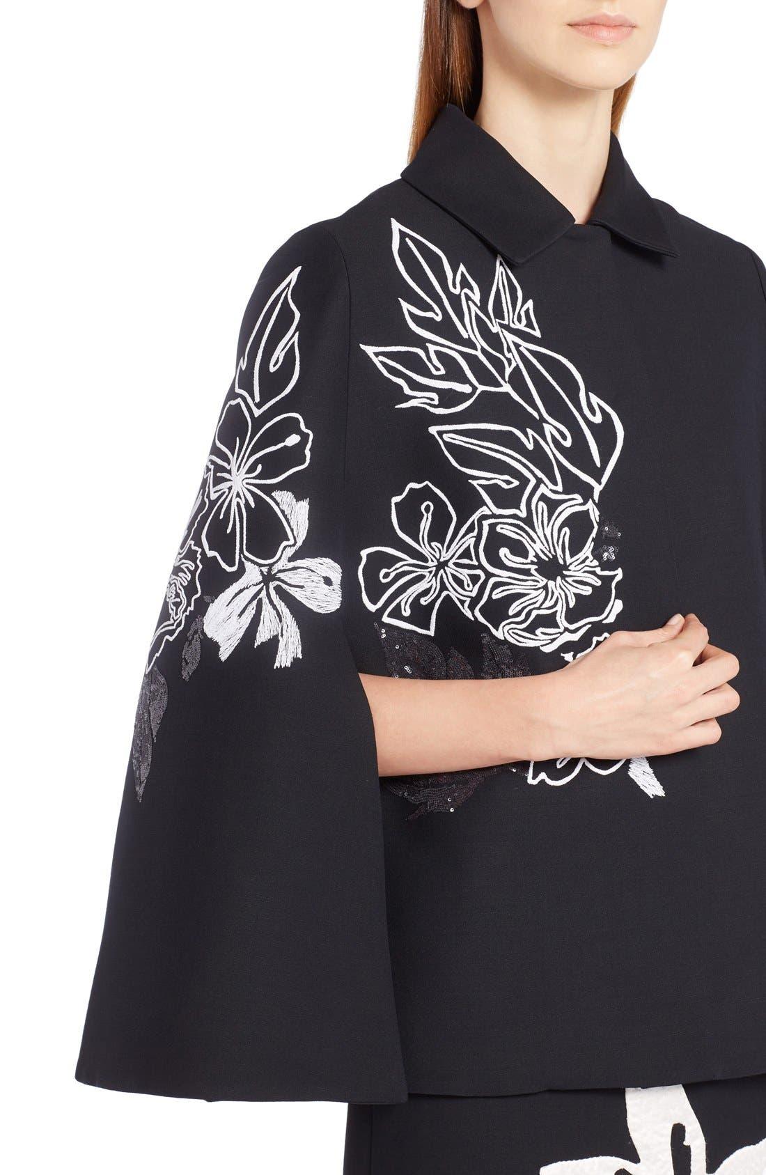 Alternate Image 5  - Fendi Floral Embroidered Wool & Silk Cape