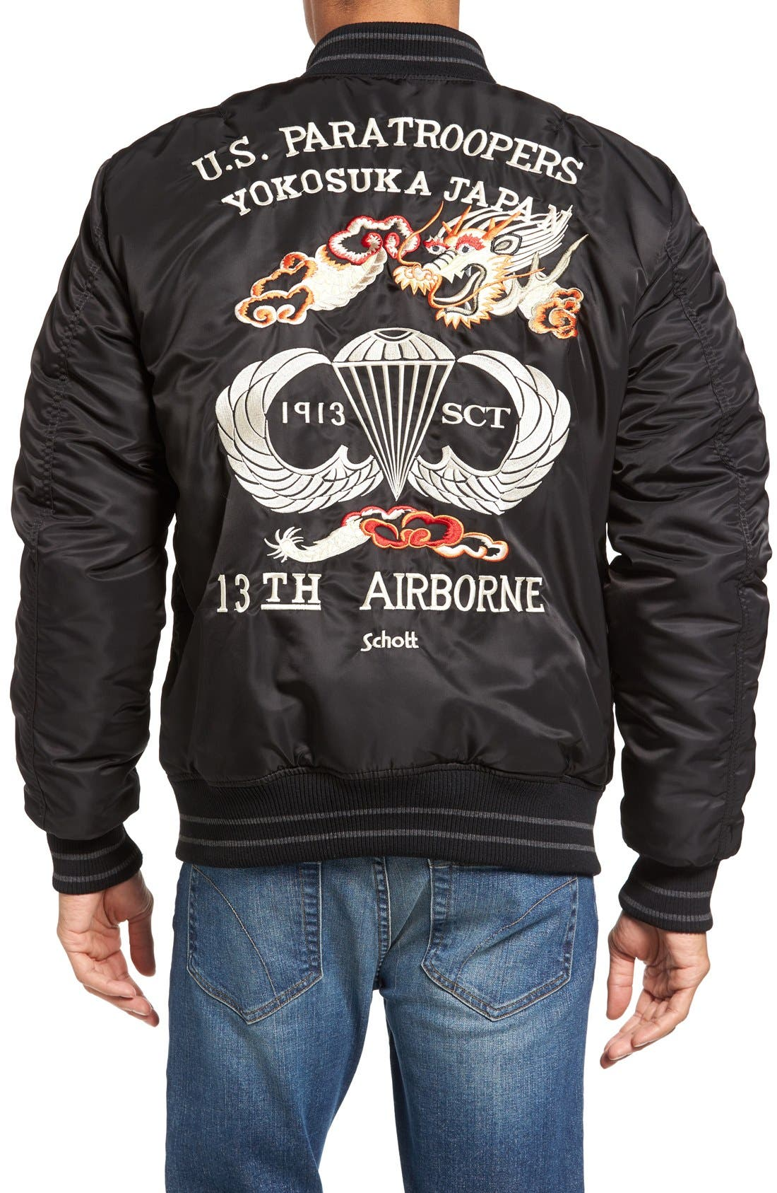 Alternate Image 2  - Schott NYC Nylon Souvenir Flight Jacket