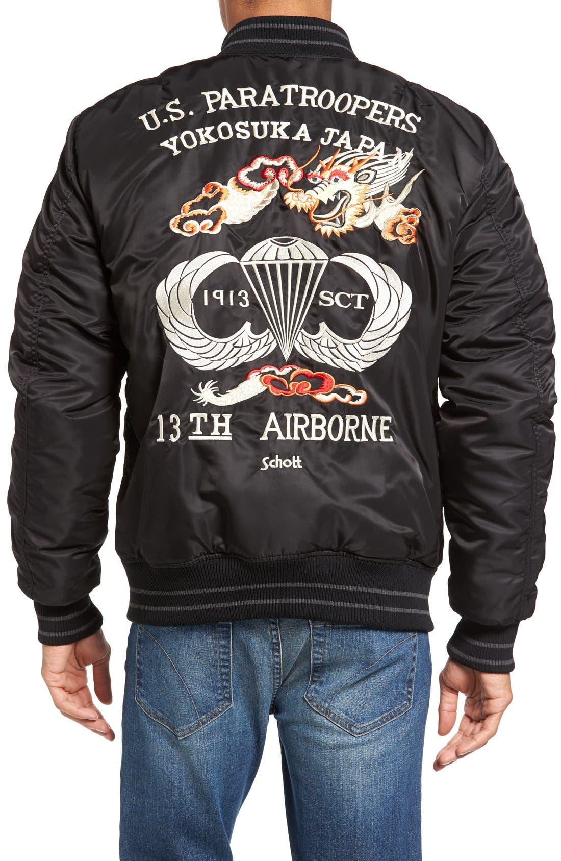 Nylon Souvenir Flight Jacket,                             Alternate thumbnail 2, color,                             Black