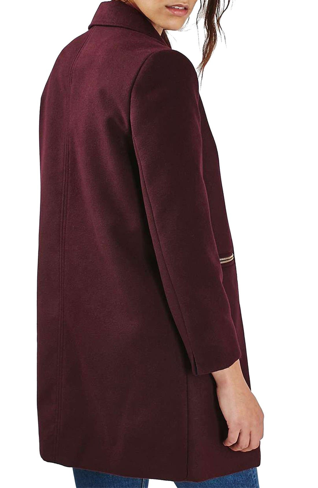 'Meg' Zip Pocket Coat,                             Alternate thumbnail 3, color,                             Burgundy