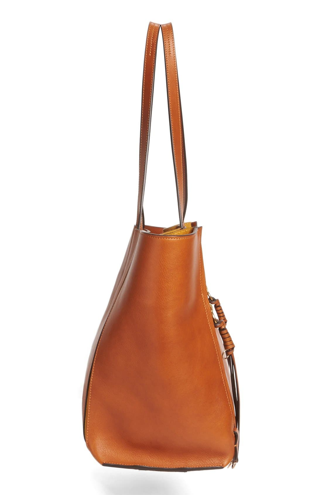 Medium Milo Calfskin Leather Tote,                             Alternate thumbnail 4, color,                             Caramel
