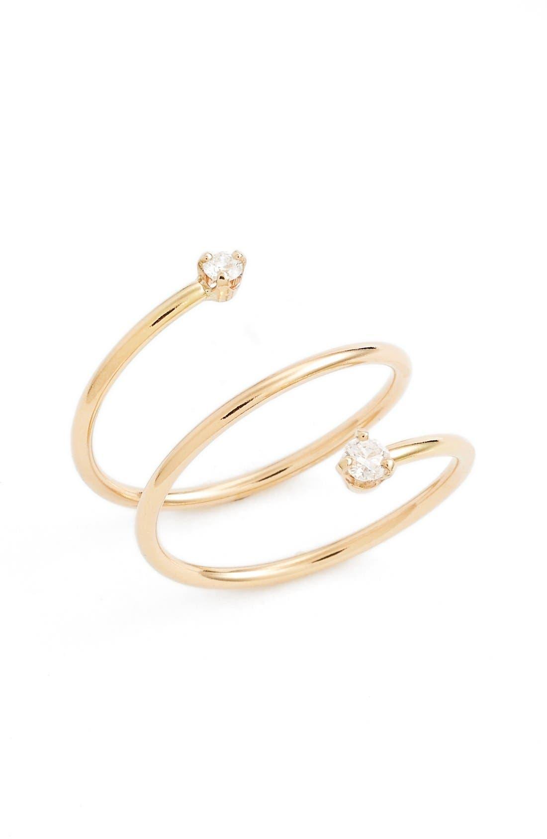 Diamond Wrap Ring,                         Main,                         color, Yellow Gold