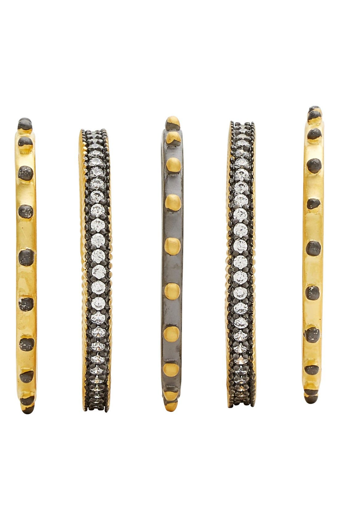 Contemporary Deco Stacking Rings,                             Alternate thumbnail 2, color,                             Gold/ Gunmetal