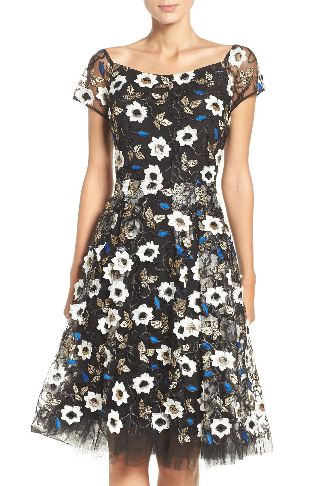 Main Image - ECI Sequin Embroidered Fit & Flare Dress