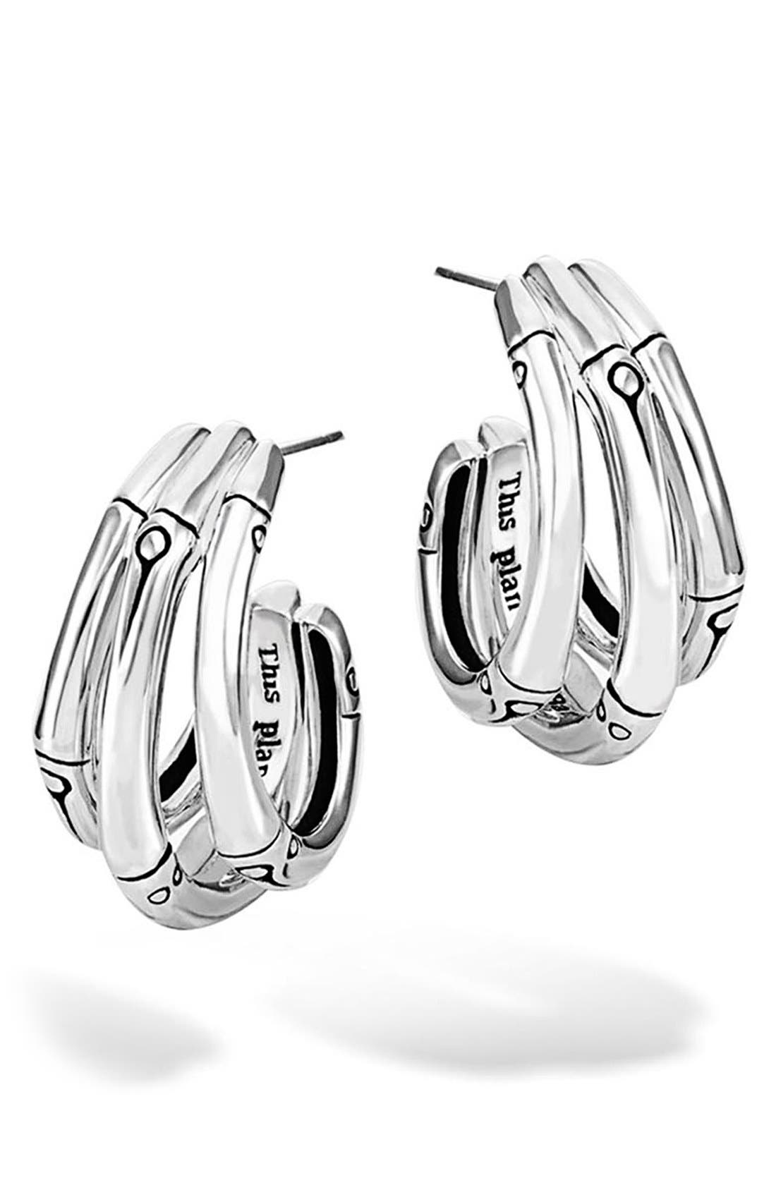 Bamboo Small Hoop Earrings,                             Main thumbnail 1, color,                             Silver