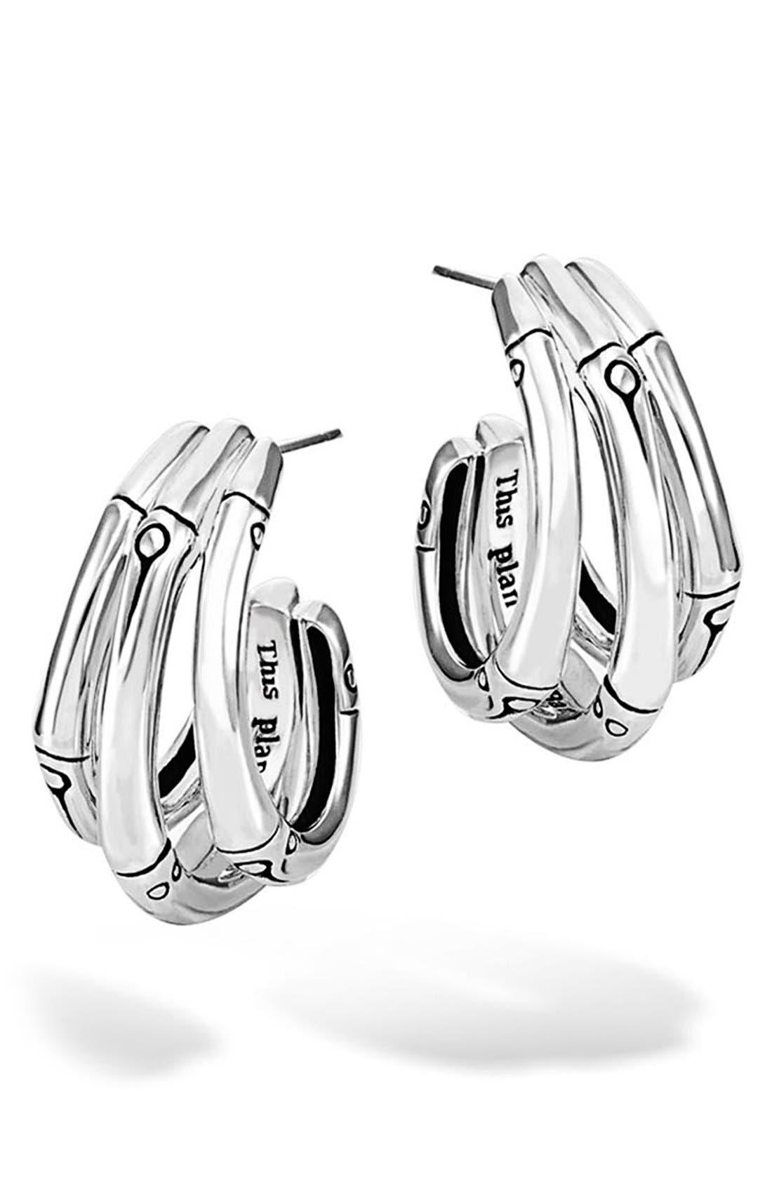 Bamboo Small Hoop Earrings,                         Main,                         color, Silver