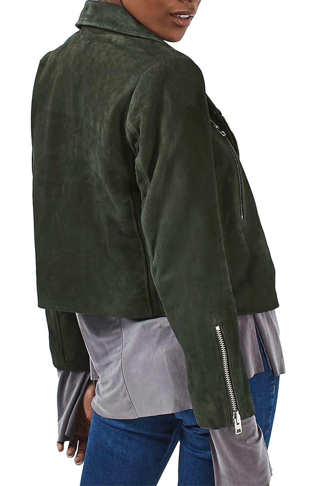 'Julie' Suede Moto Jacket,                             Alternate thumbnail 3, color,                             Green