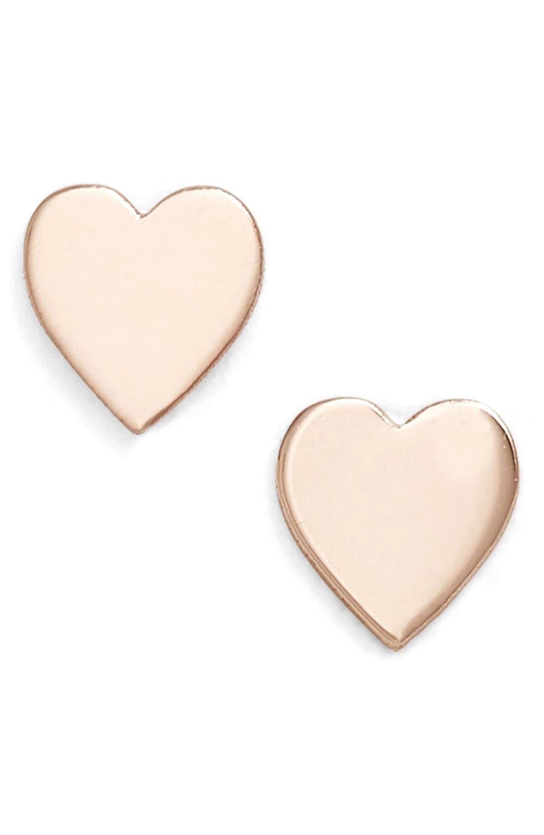Mini Sweetheart Stud Earrings,                         Main,                         color, Rose Gold