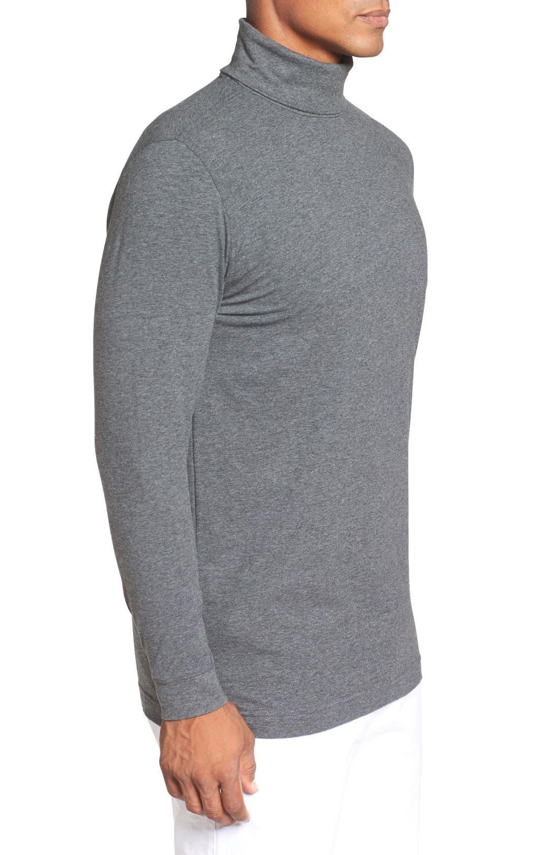 Long Sleeve Turtleneck T-Shirt,                             Alternate thumbnail 3, color,                             Charcoal