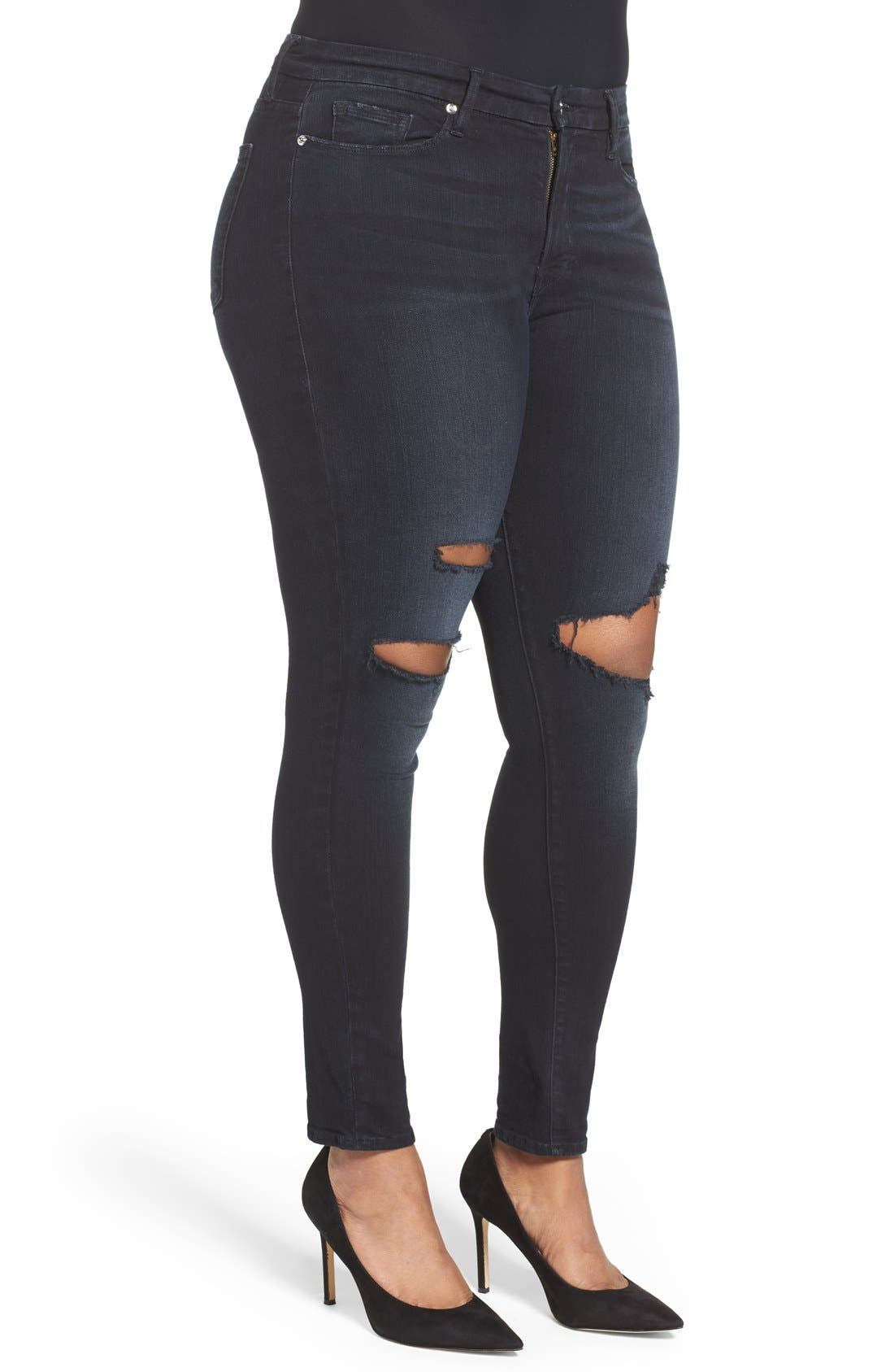 Alternate Image 7  - Good American Good Legs High Rise Ripped Skinny Jeans (Blue 001) (Extended Sizes)