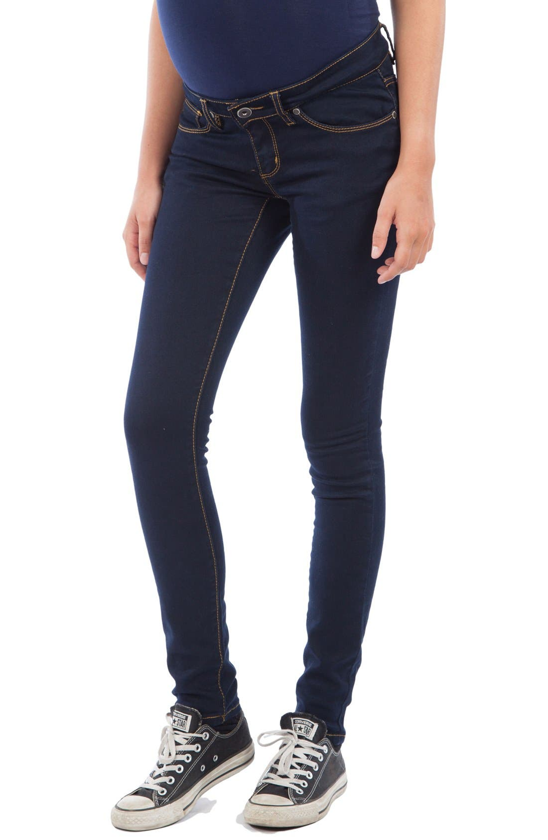 Skinny Maternity Jeans,                         Main,                         color, Dark Blue Wash