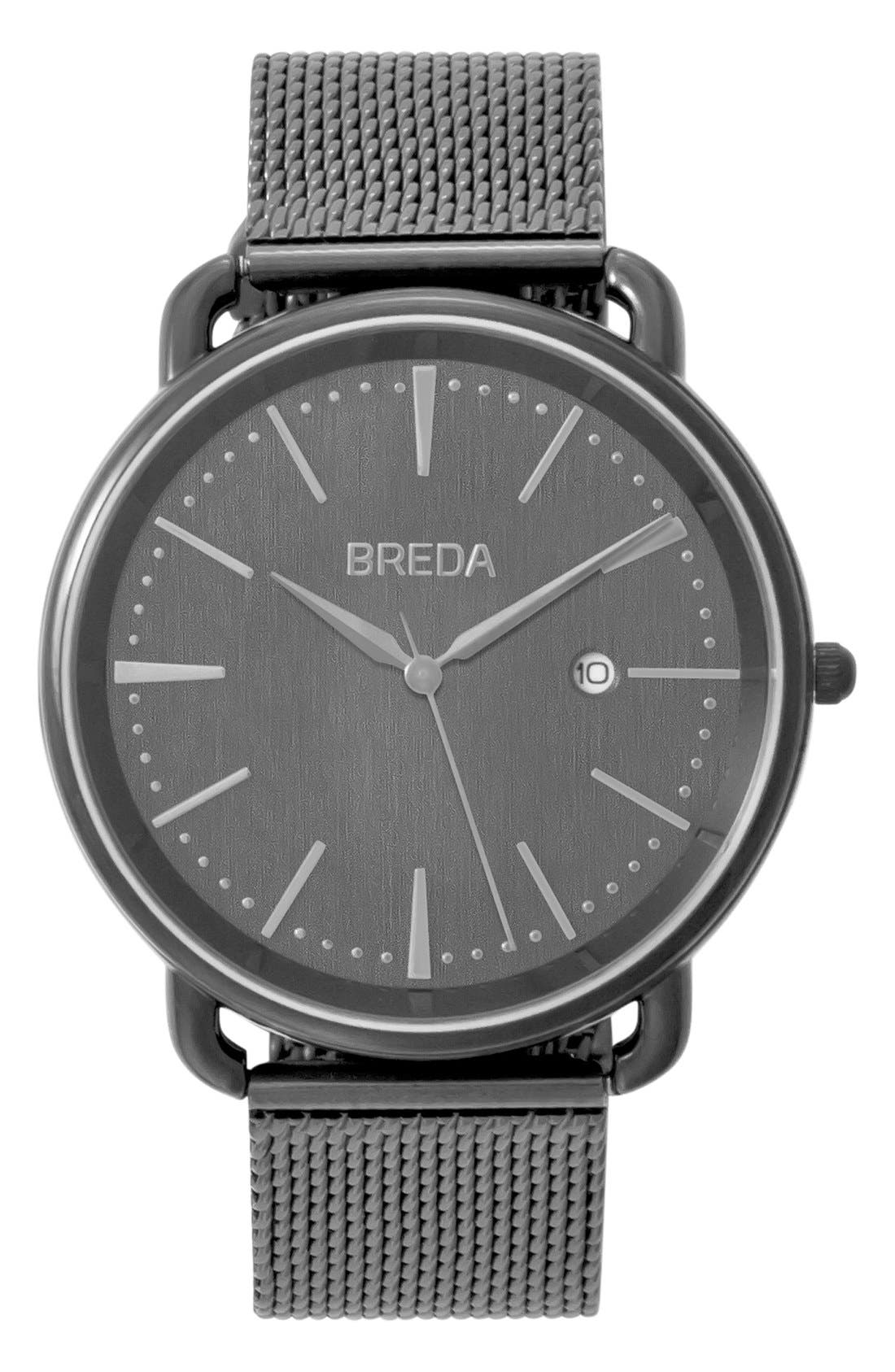Alternate Image 1 Selected - BREDA Linx Round Mesh Strap Watch, 42mm