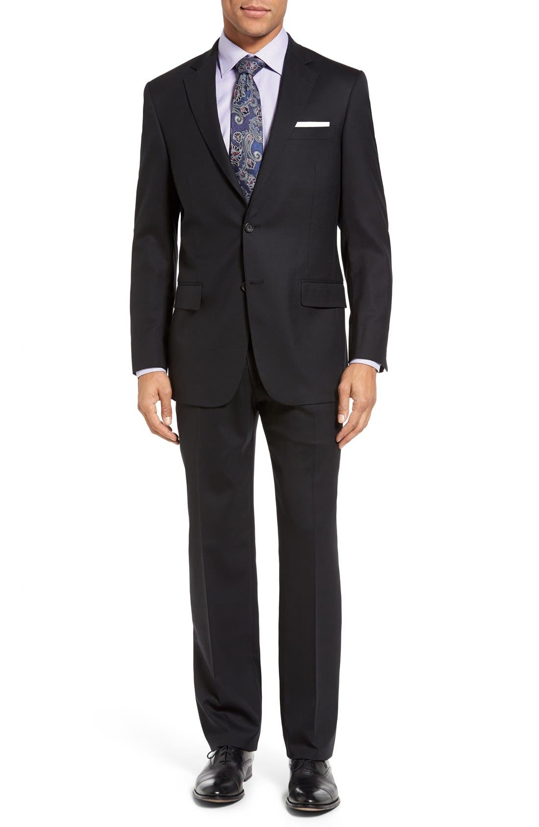 New York Classic Fit Solid Stretch Wool Suit,                         Main,                         color, Black