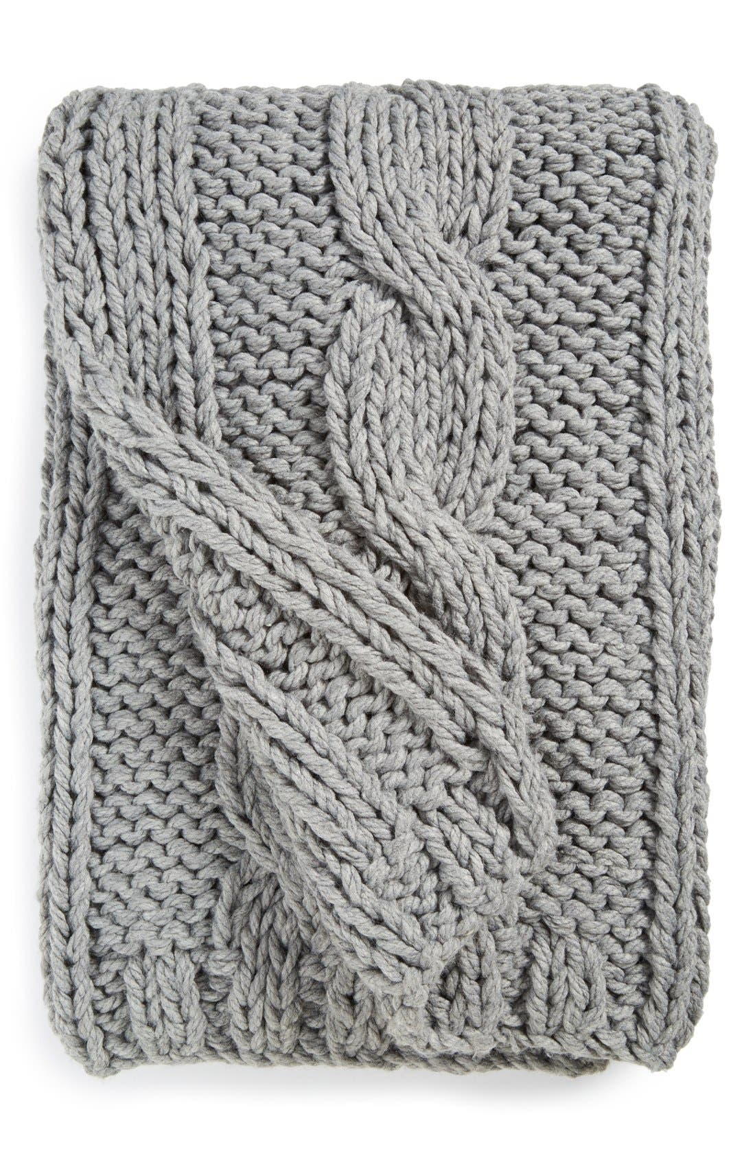 Grand Cable Throw,                         Main,                         color, Grey Alloy Heather
