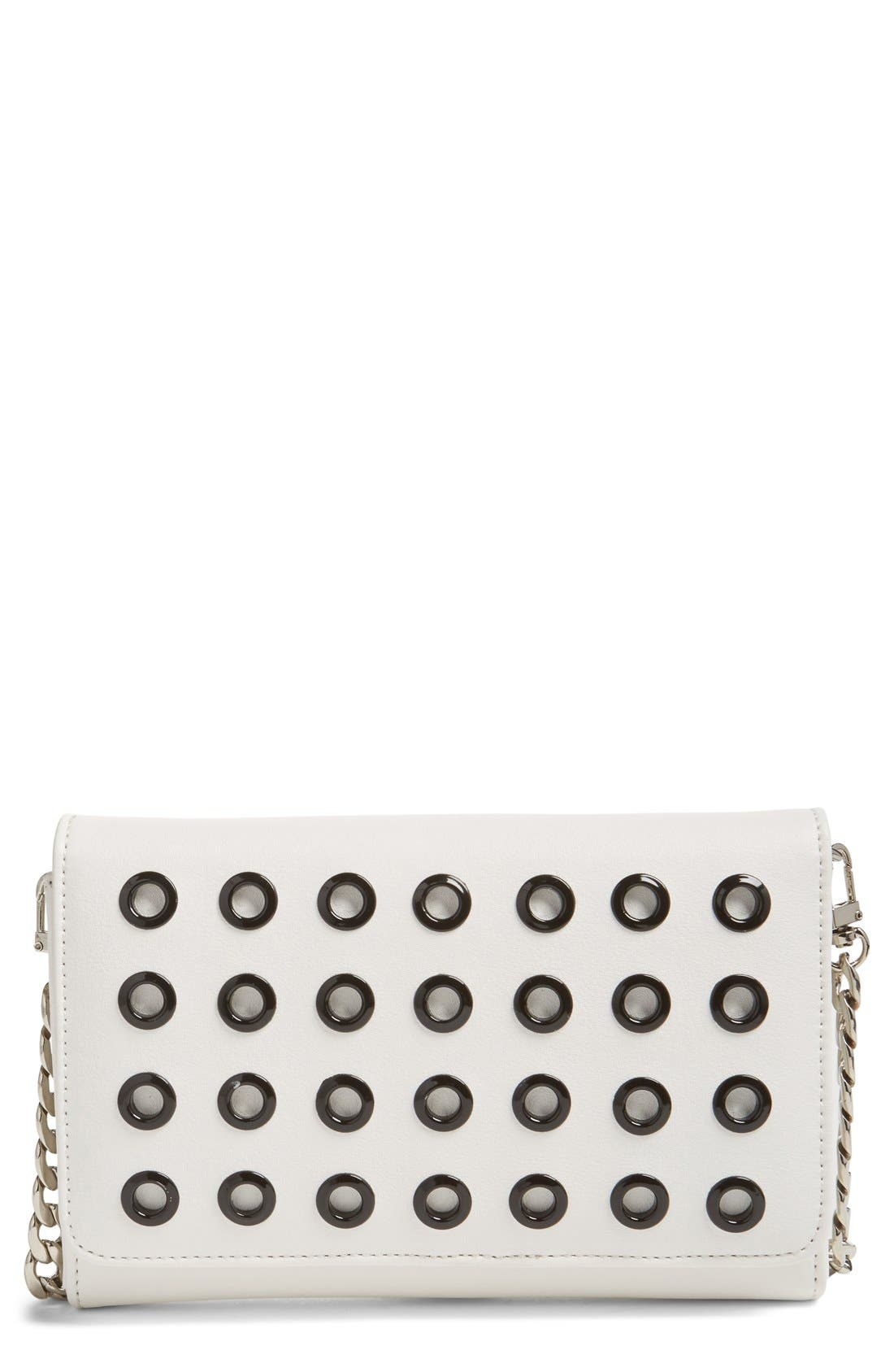 PHASE 3 Grommet Faux Leather Crossbody Bag