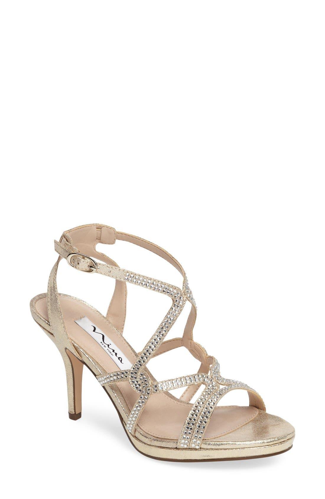 Main Image - Nina Varsha Crystal Embellished Evening Sandal (Women)